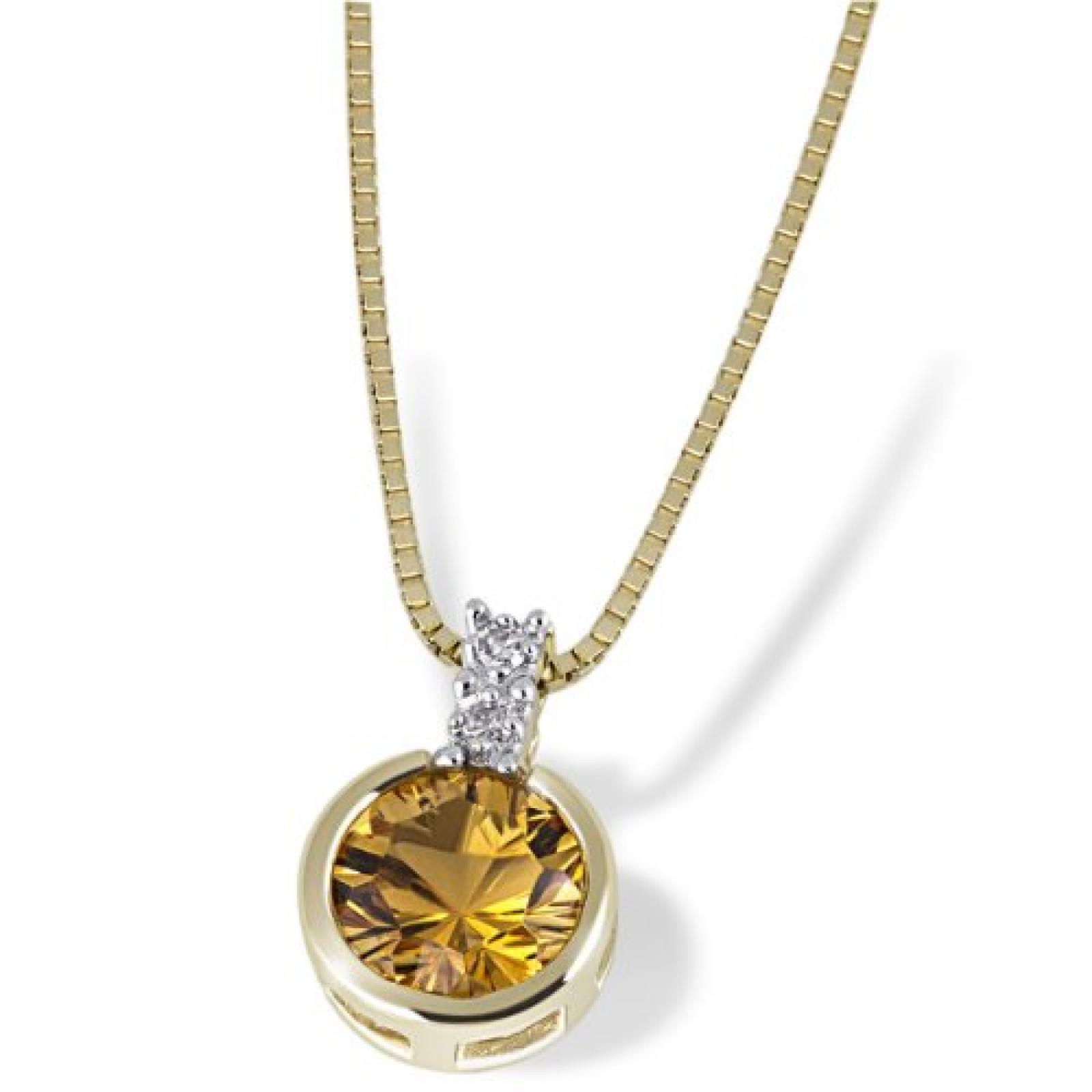 Goldmaid Damen-Halskette 9 Karat 375 Gelbgold 1 Citrin 2 Diamanten 0,02 ct. Fa C2944GG375