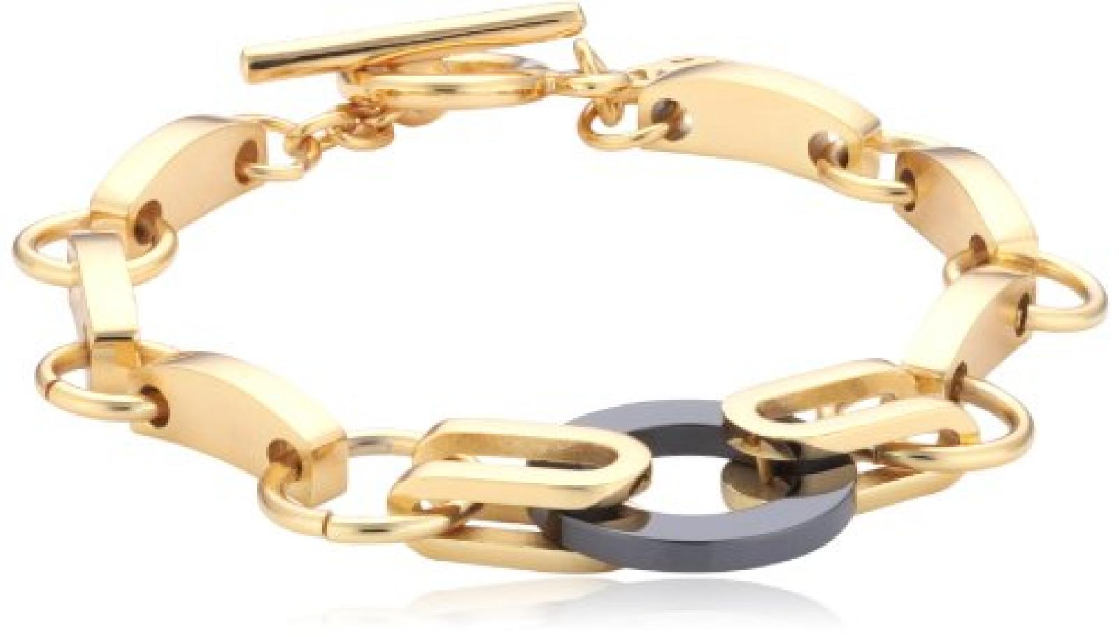 Mike Ellis New York Damen Armband Edelstahl Acryl 19.0 cm S173 IPG