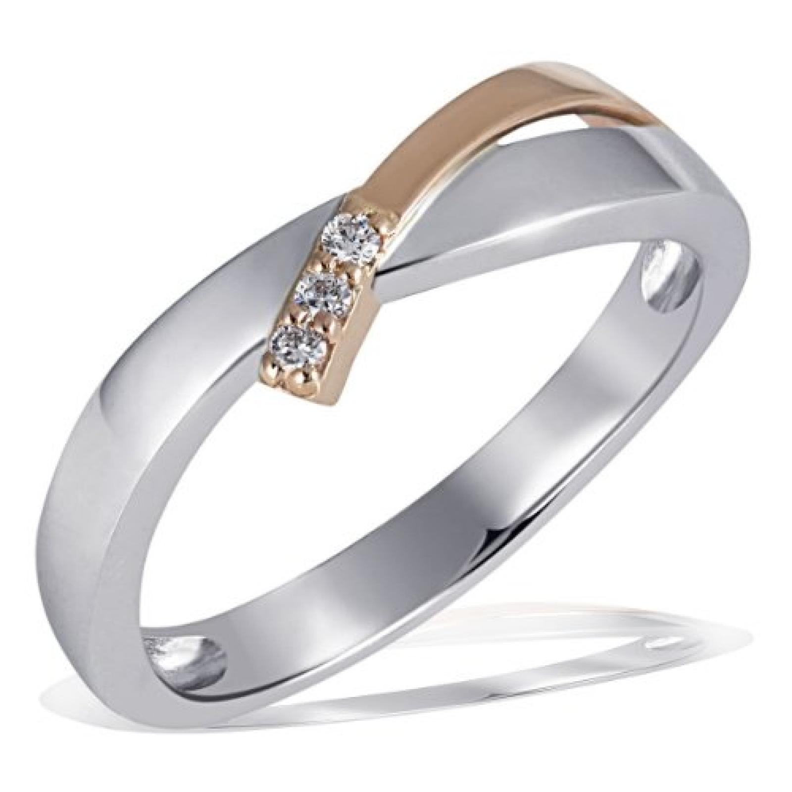 Goldmaid Damen-Ring Weissgold Rotgold 585 Bicolor 3 Brillanten 0,05ct Pa R4266RG