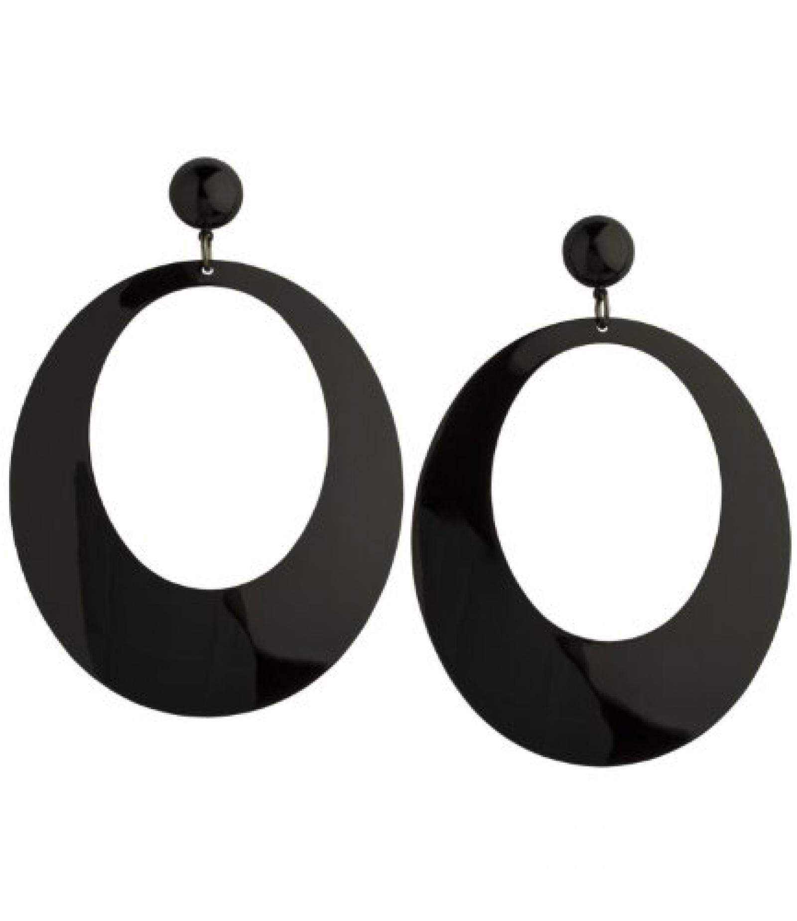 "SIX ""Ming"" große, runde Ohrstecker aus schwarzen Metallplatten (353-719)"