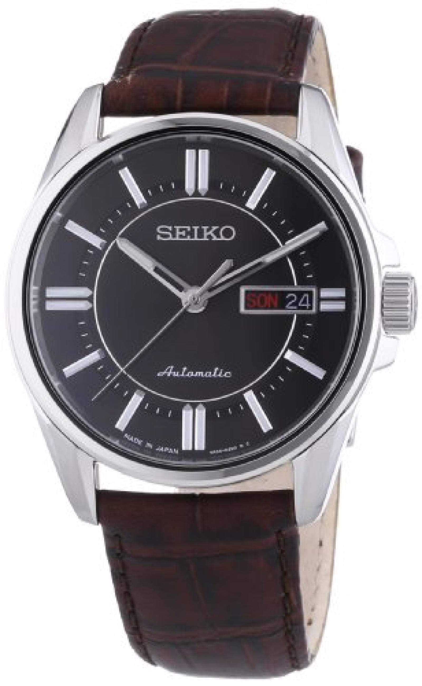 Seiko Herren-Armbanduhr XL Analog Automatik Leder SRP401J2