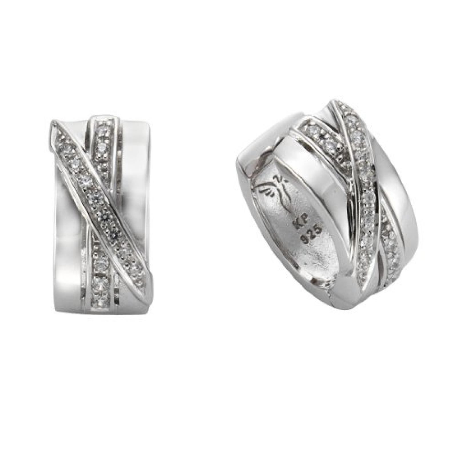 Celesta Damen-Creole 925 Sterling Silber 26 Zirkonia weiß 273210268