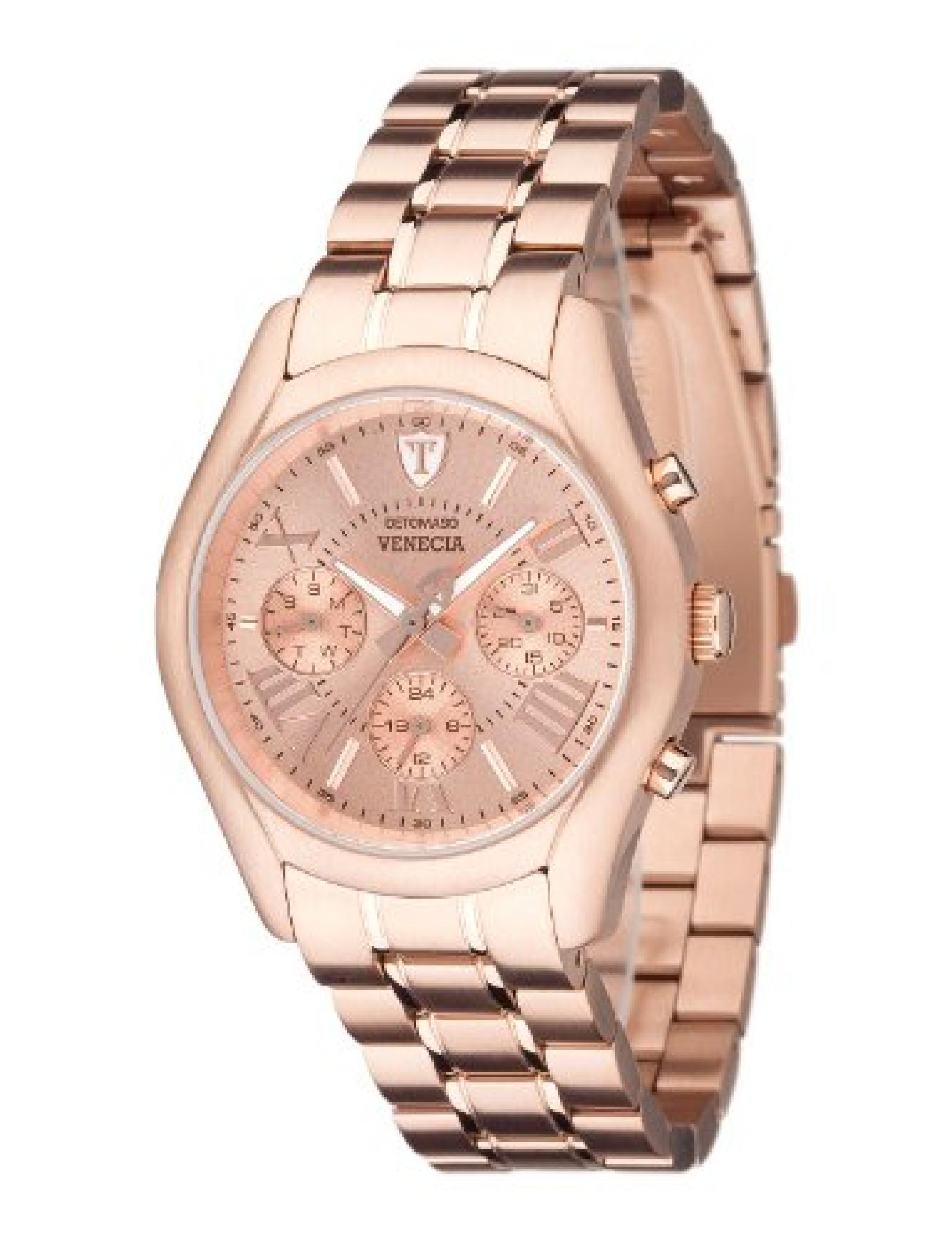 Detomaso Damen-Armbanduhr VENECIA Multifunction Rosegold Analog Quarz Edelstahl DT3020-A