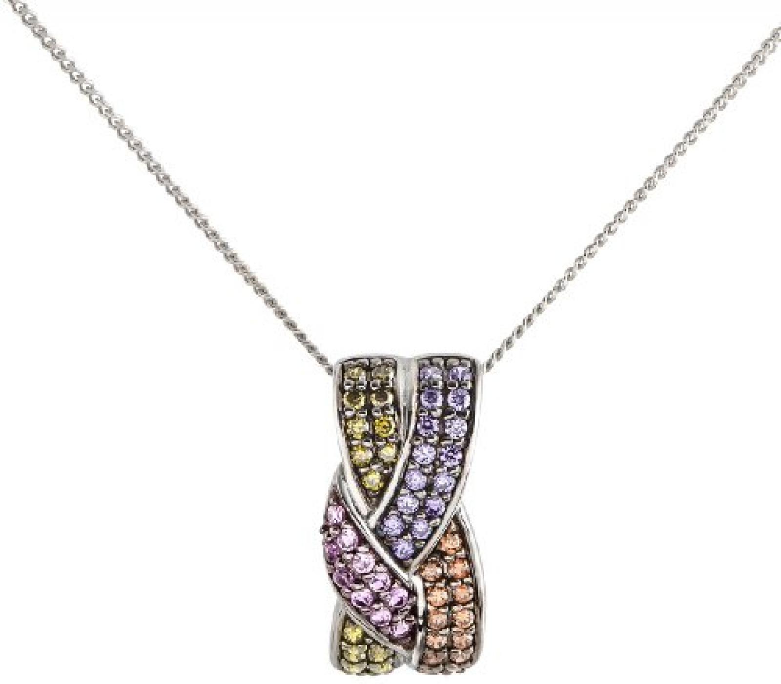 Celesta Damen Halskette 925 Sterling Silber rhodiniert Zirkonia Celesta Silver 42 cm grün mehrfarbig 500244581-42L