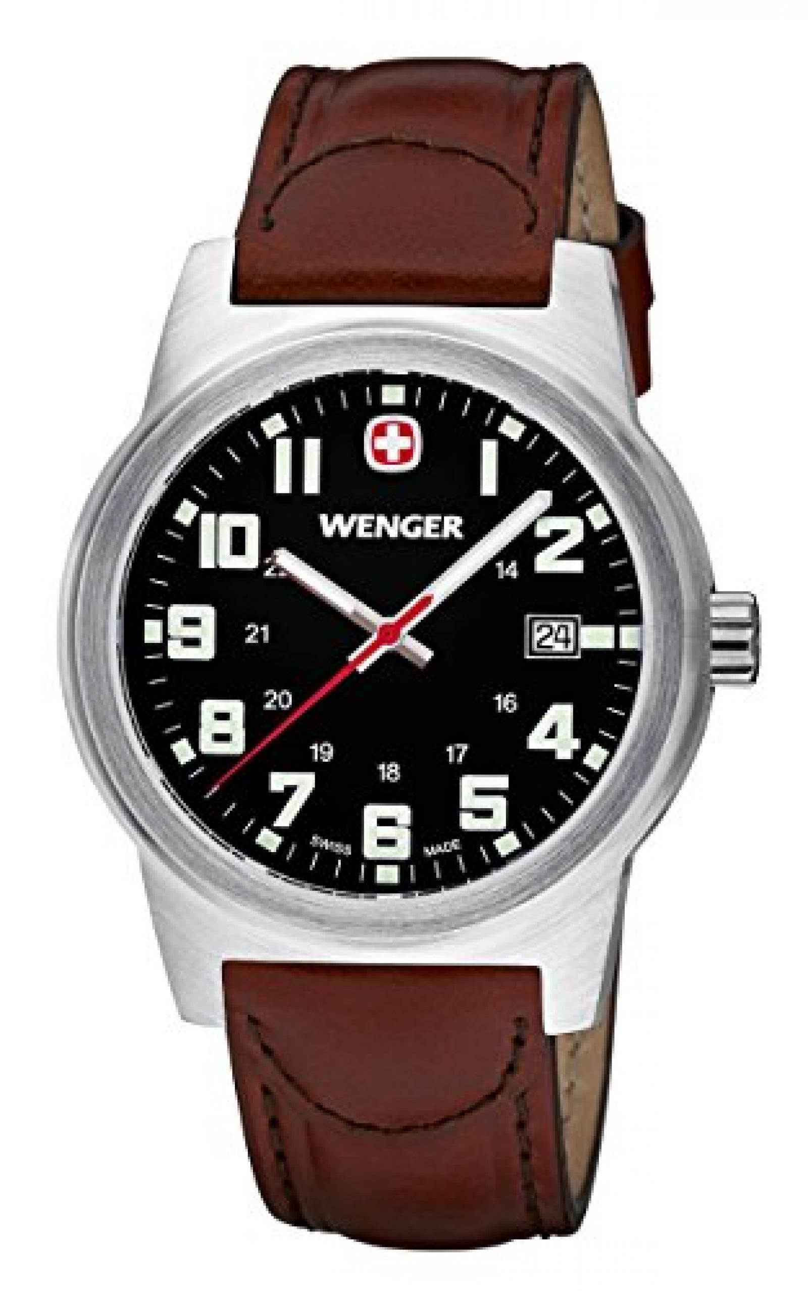 Wenger Herren-Armbanduhr XL Field Classic Analog Quarz Leder 72800W