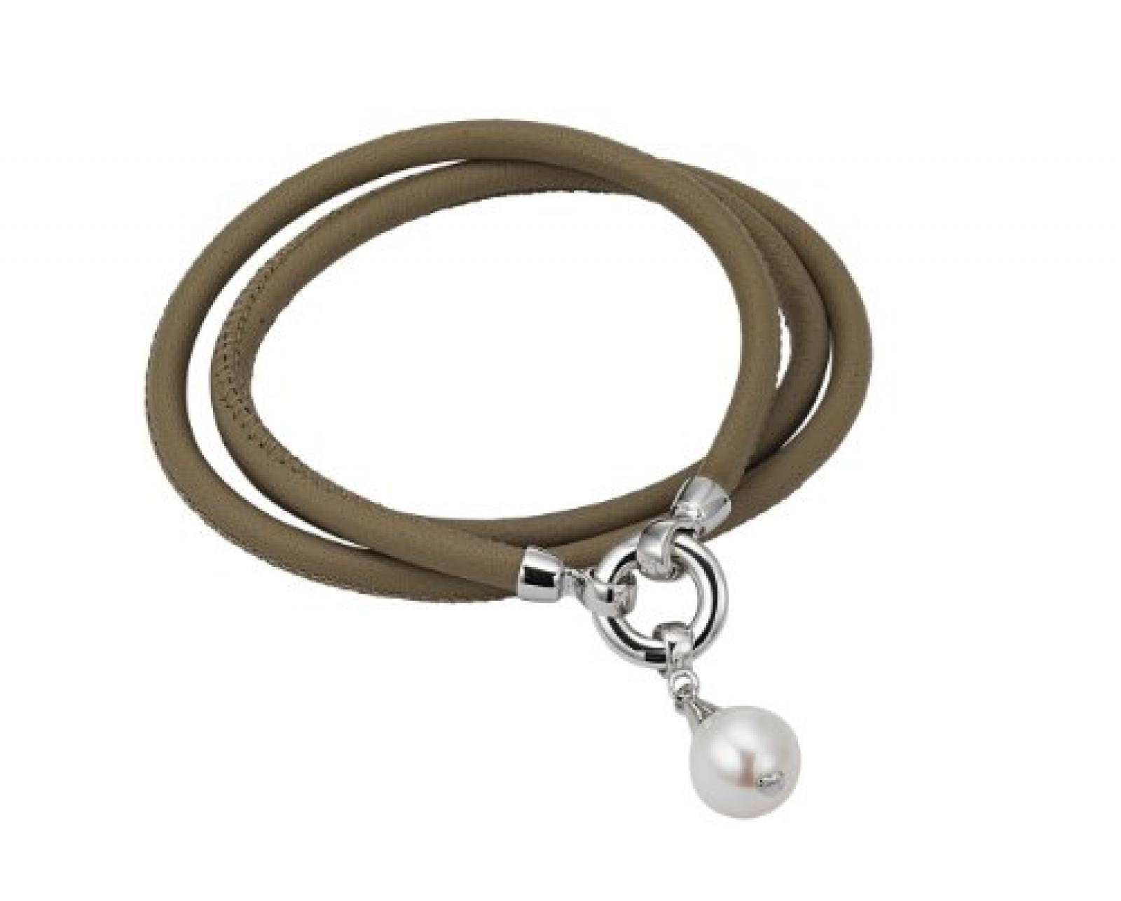 Adriana Damen-Set: Halskette + Armband Süßwasser Zuchtperlen 925 Sterling Silber L1-helltaupe