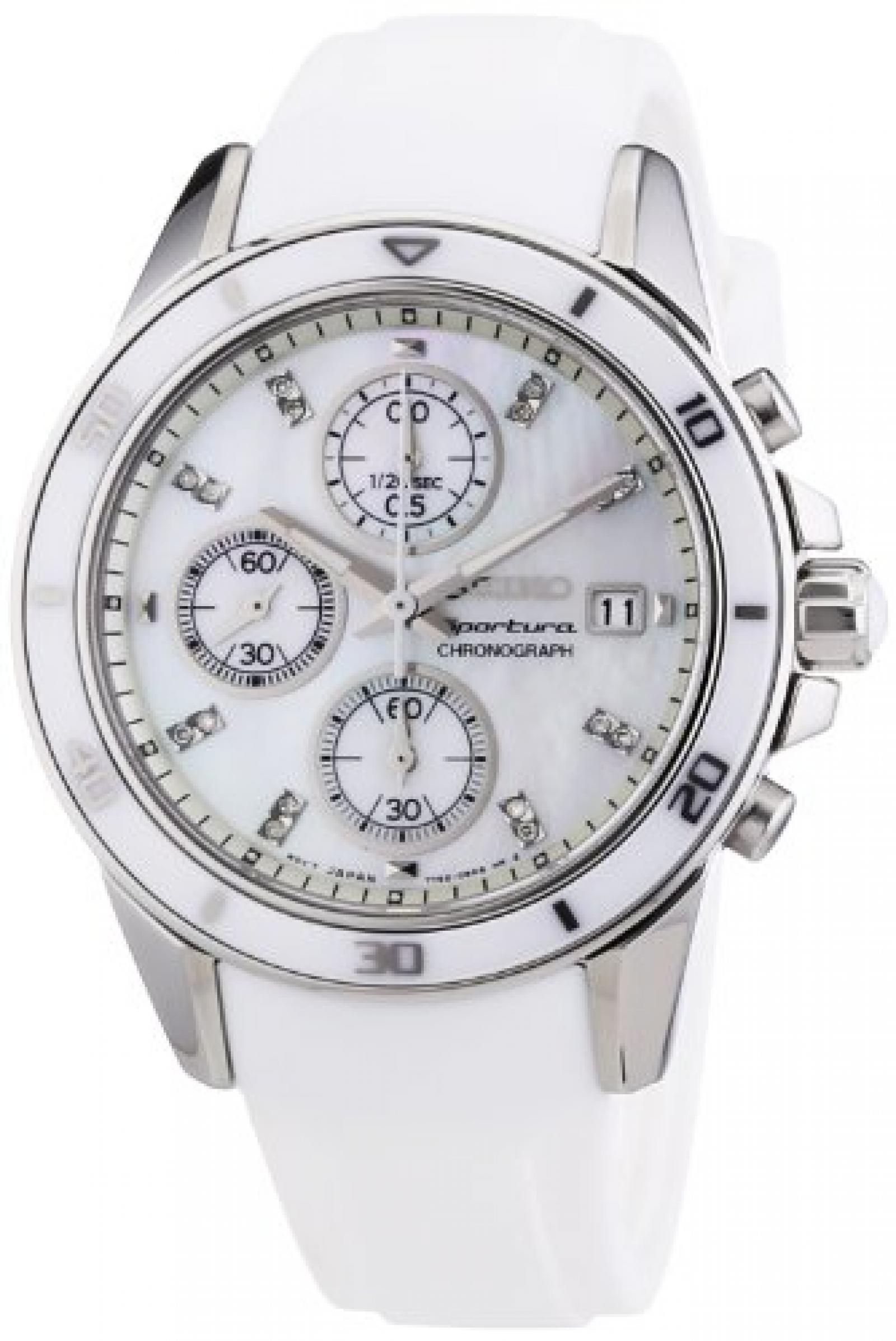 Seiko Damen-Armbanduhr Chronograph Quarz Kautschuk SNDX57P1