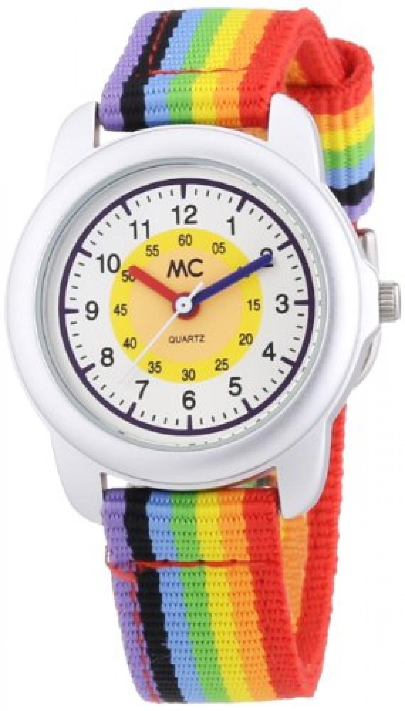 MC Timetrend Unisex-Armbanduhr Regenbogen Lernuhr Quarz Textil 50436