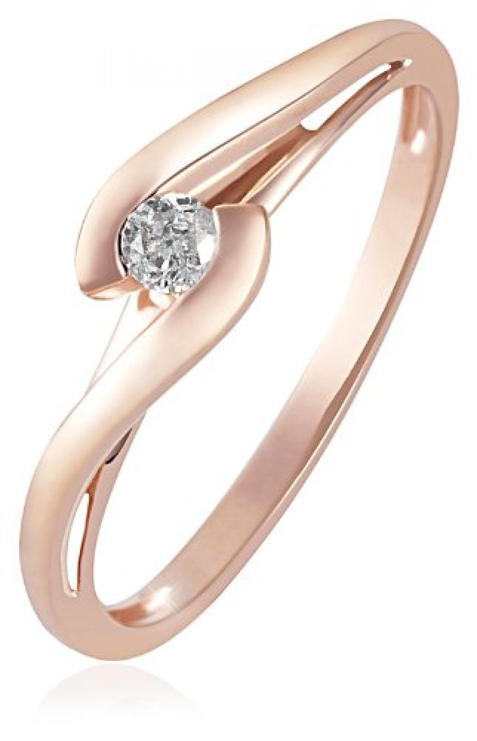 Goldmaid Damen-Ring Solitär Verlobungsring 585 Rotgold 1 Brillant 0,08 ct. So R3574RG