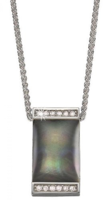 Pierre Cardin Damen Halskette 925 Sterling Silber rhodiniert Kristall Zirkonia Crépuscule 42 cm weiß PCNL90381A420