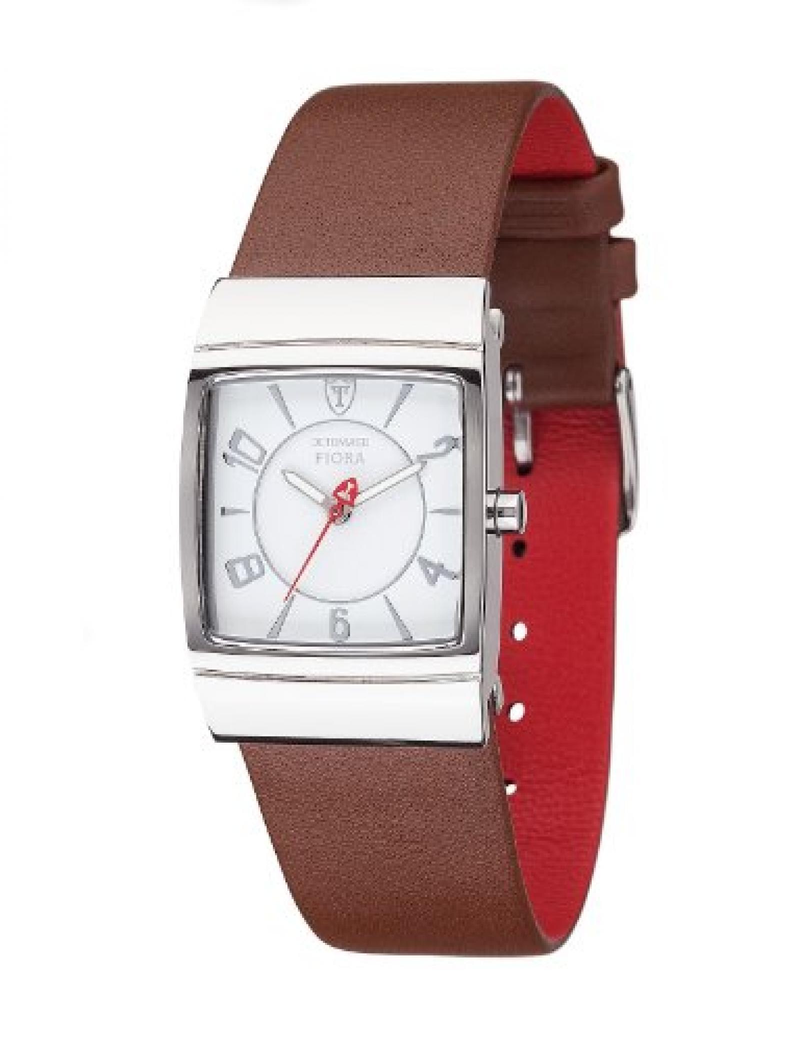 Detomaso Damen-Armbanduhr FIORA Silver/Brown Analog Quarz Leder DT3022-C