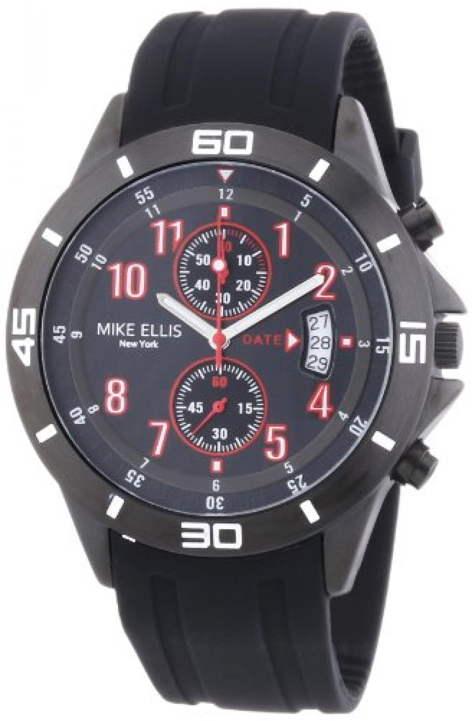 Mike Ellis New York Herren-Armbanduhr XL Analog Quarz Silikon M3096/1
