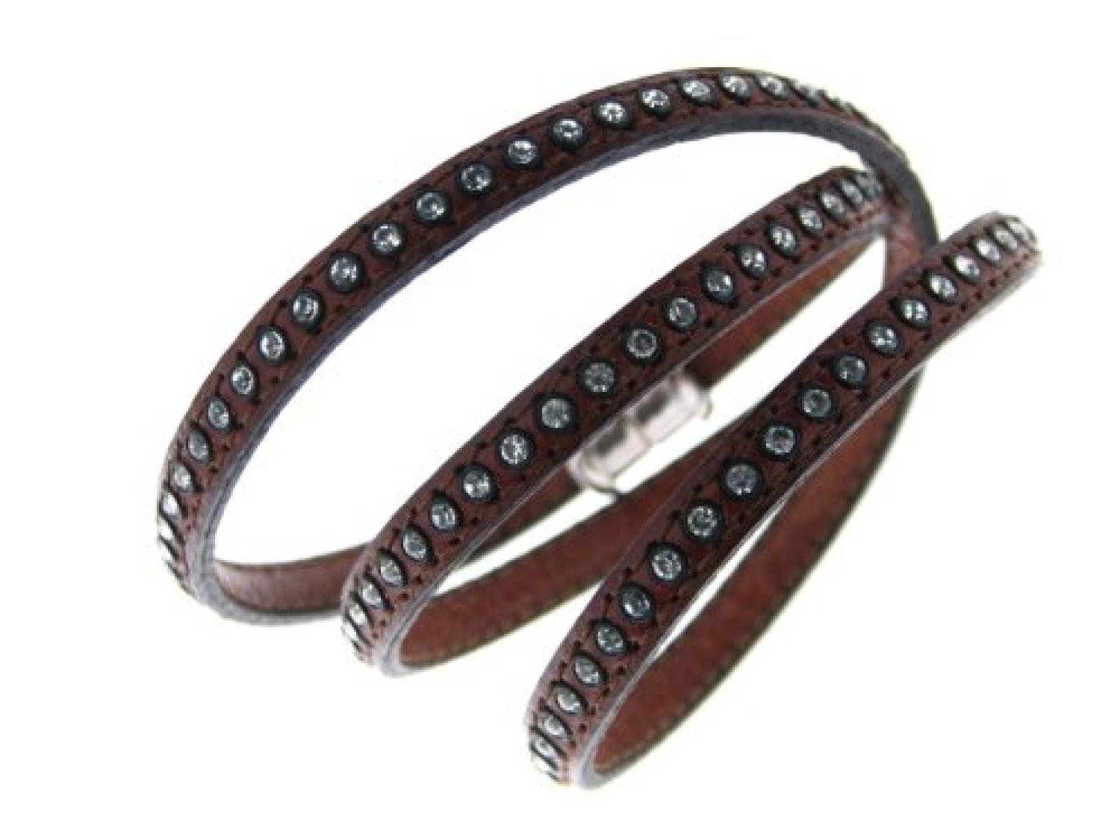 Kettenworld Unisex-Armband 925 Sterling Silber braun mit Strasssteinen 326463