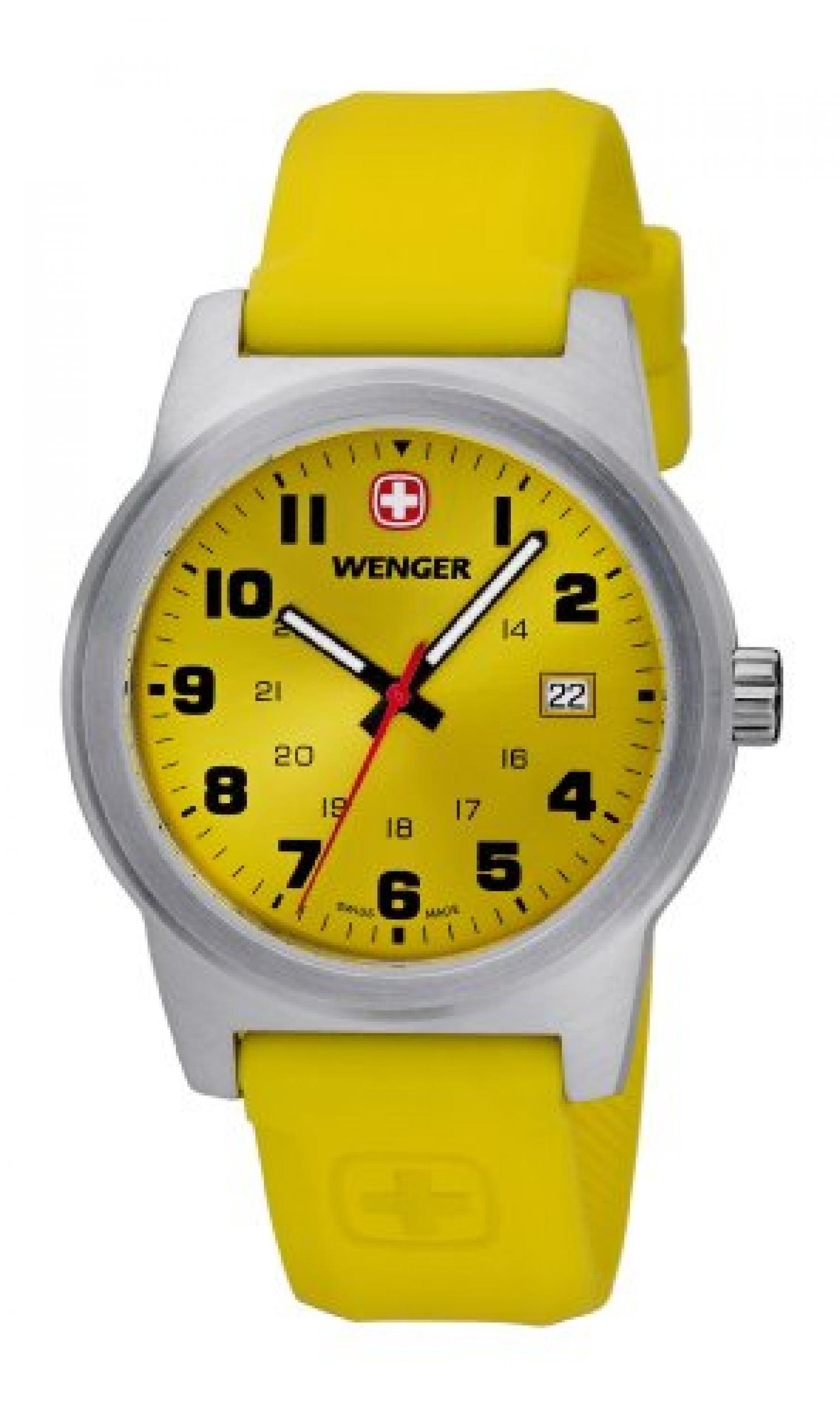 Wenger Unisex-Armbanduhr Field Classic Analog Silikon Gelb 010441113