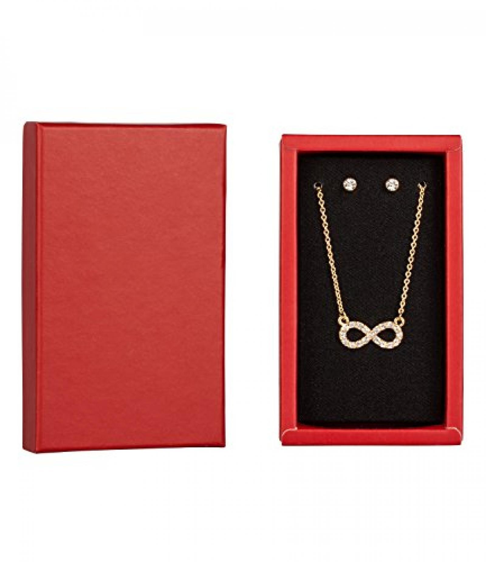 "SIX ""Xmas Sets"" Geschenk-Box mit Kette & Ohrsteckern, gold, Strass, Infinity (388-236)"