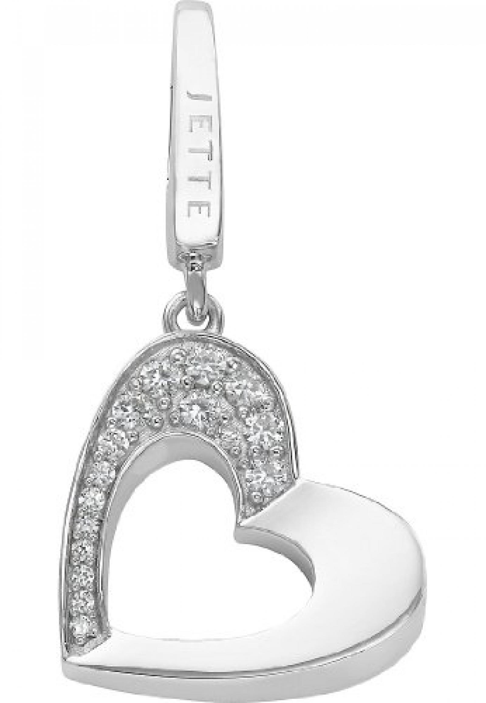 JETTE Charms Damen-Charm CHARM 925er Silber rhodiniert 16 Zirkonia One Size, silber