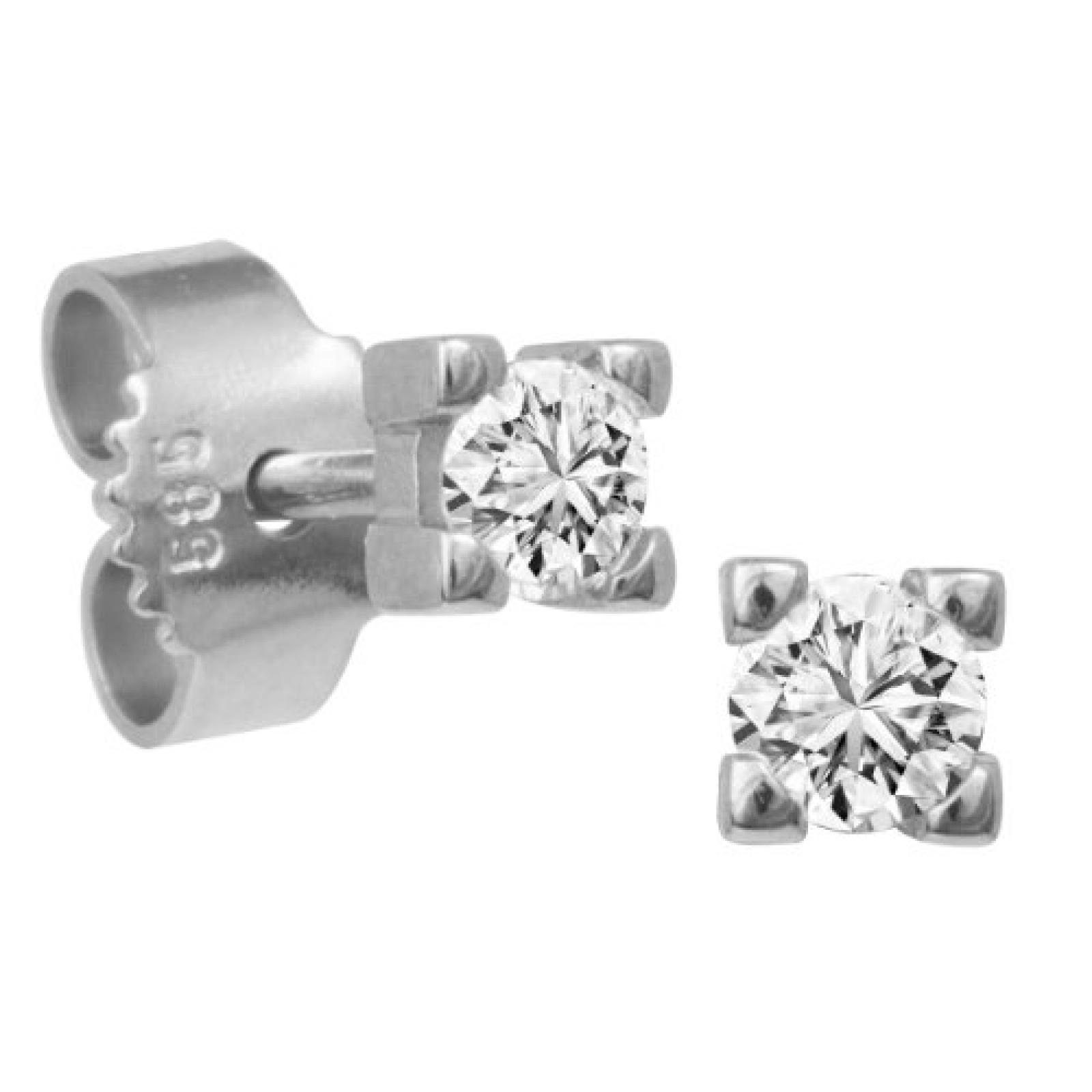 Bella Donna Damen-Ohrstecker 585 Weißgold 2 Diamanten 0,22ct. getöntes Weiss Lupenrein 107826