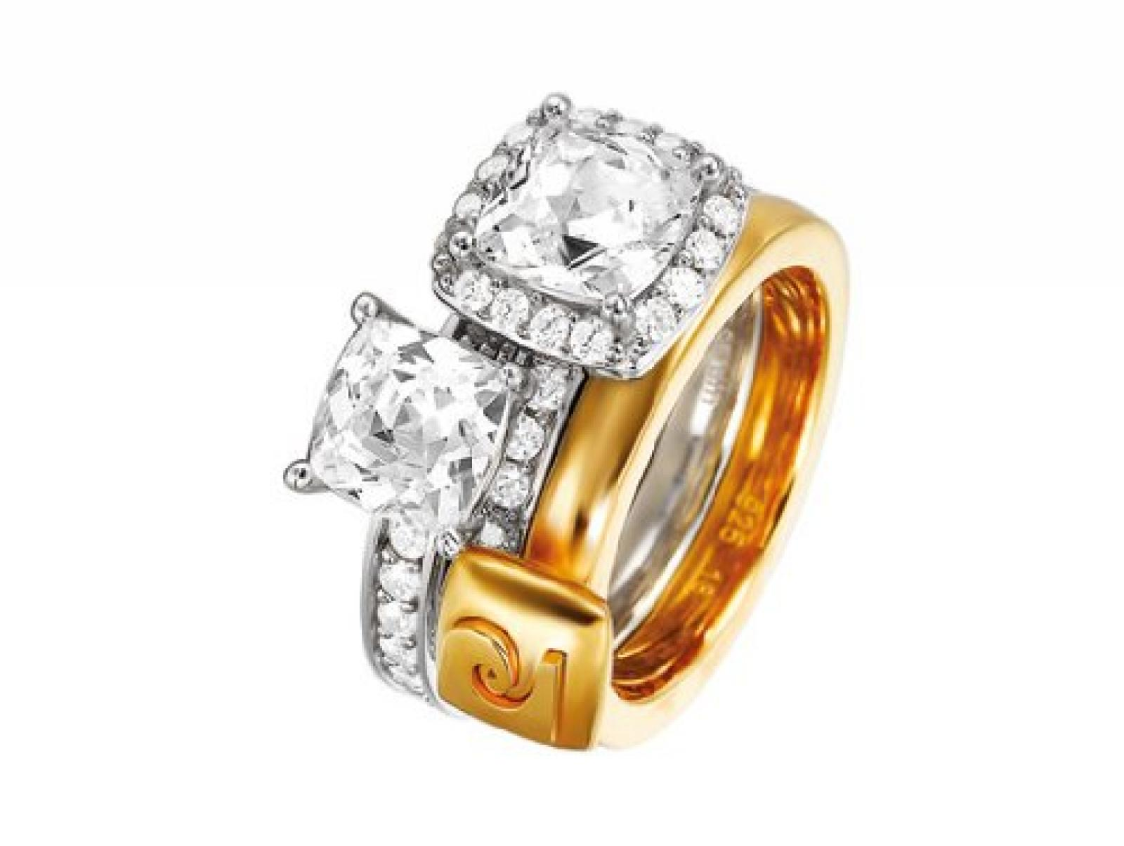 Pierre Cardin Damen-Ring Melanger Et Assortir 925 Sterling Silber Gr. 58 (18.5) PCRG90358A180