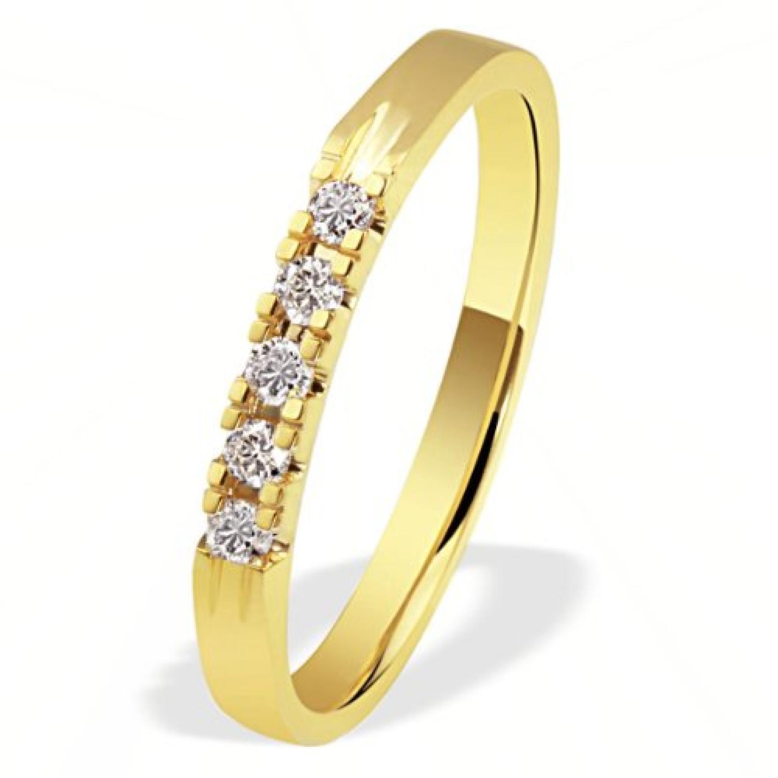 Goldmaid Ring 585 Gelbgold 5 Brillanten 0,15ct Memoire Me