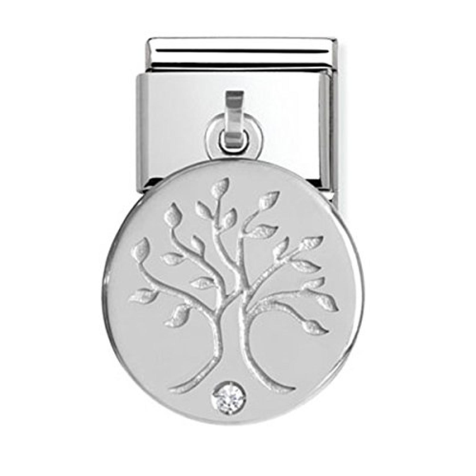 Nomination Damen-Charm Lebensbaum 925 Silber Edelstahl Zirkonia weiß - 031710/29