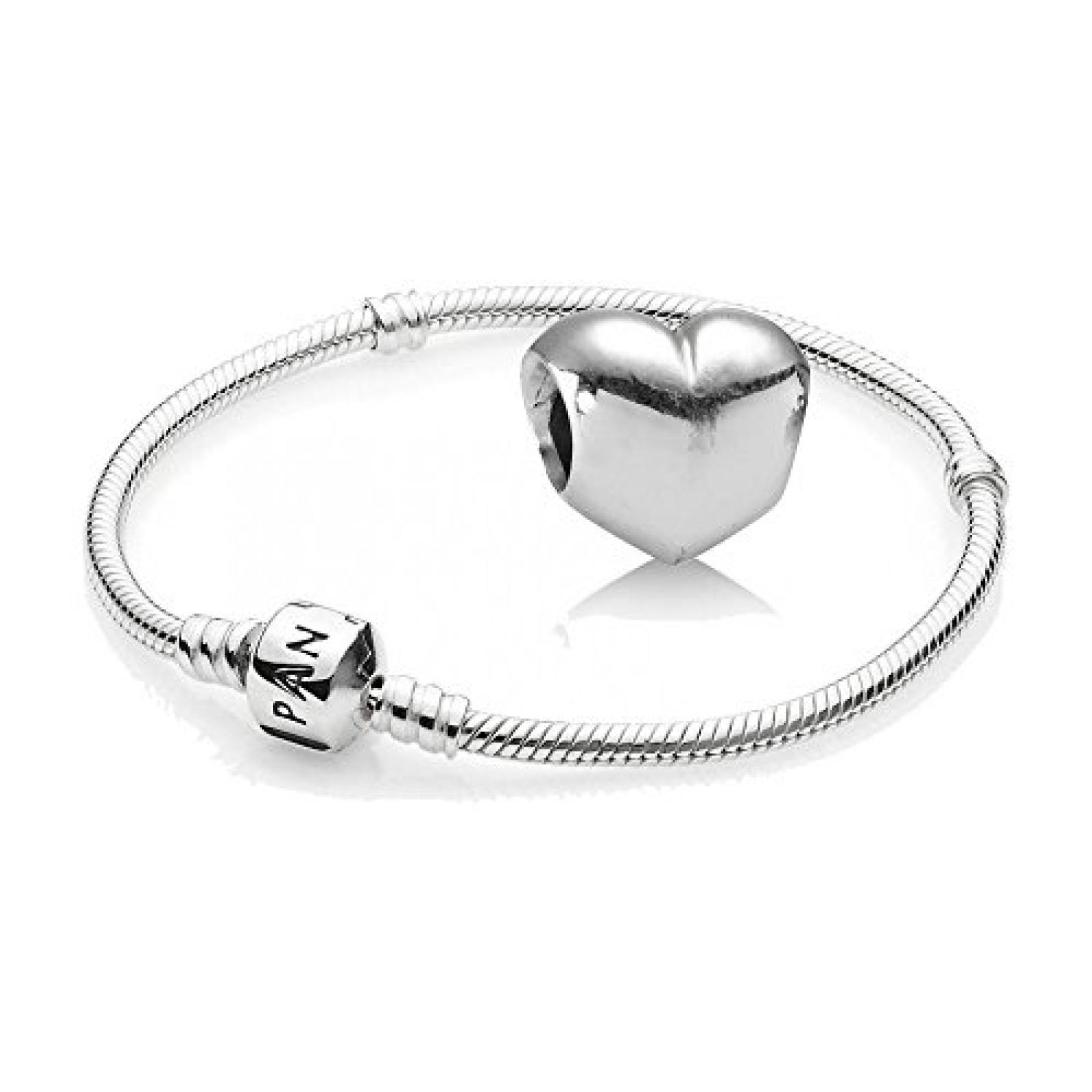 Original Pandora Geschenkset - 1 Silber Armband 590702HV und 1 Silber Element Glattes Herz 790137
