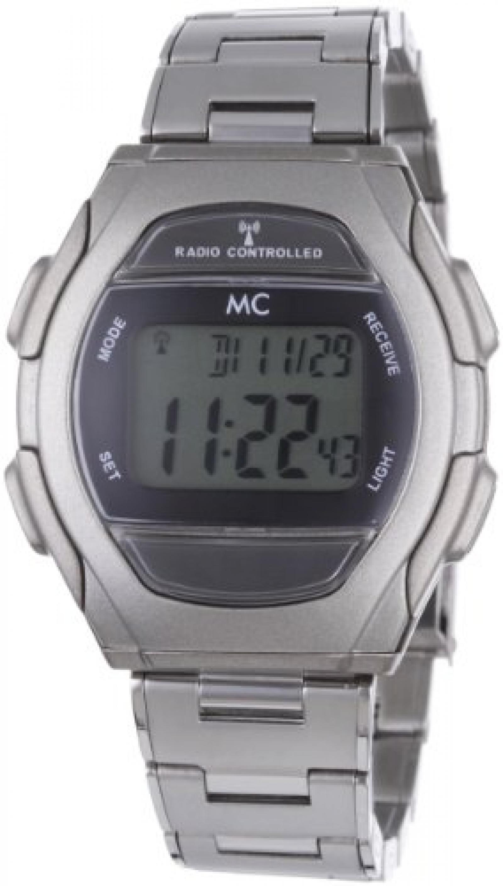 MC Timetrend Herren-Armbanduhr Digital Quarz Funk Metallband 30280