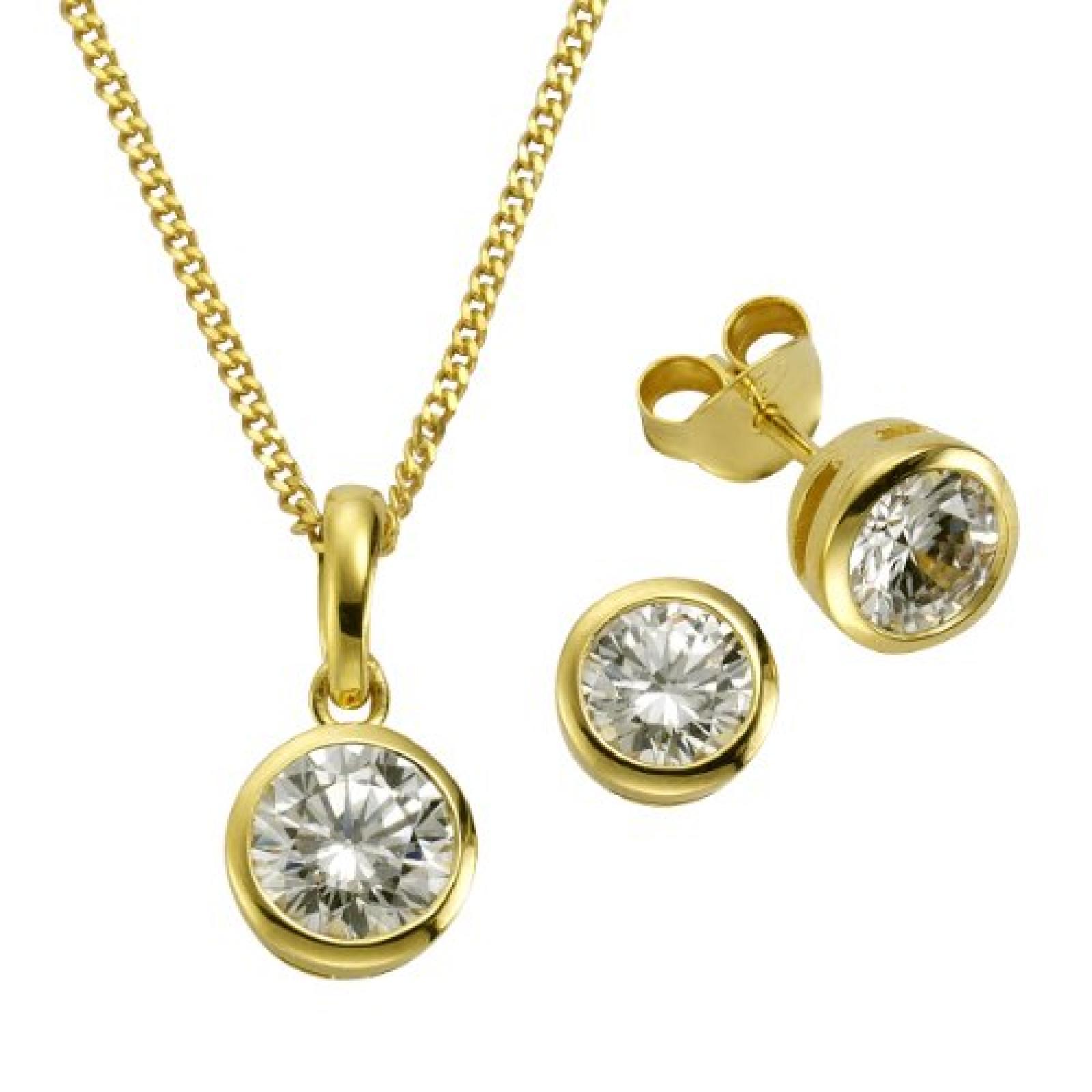 ZEEme Damen-Set: Halskette + Ohrringe 925 Sterling Silber Zirkonia weiß 45cm 500201361-3