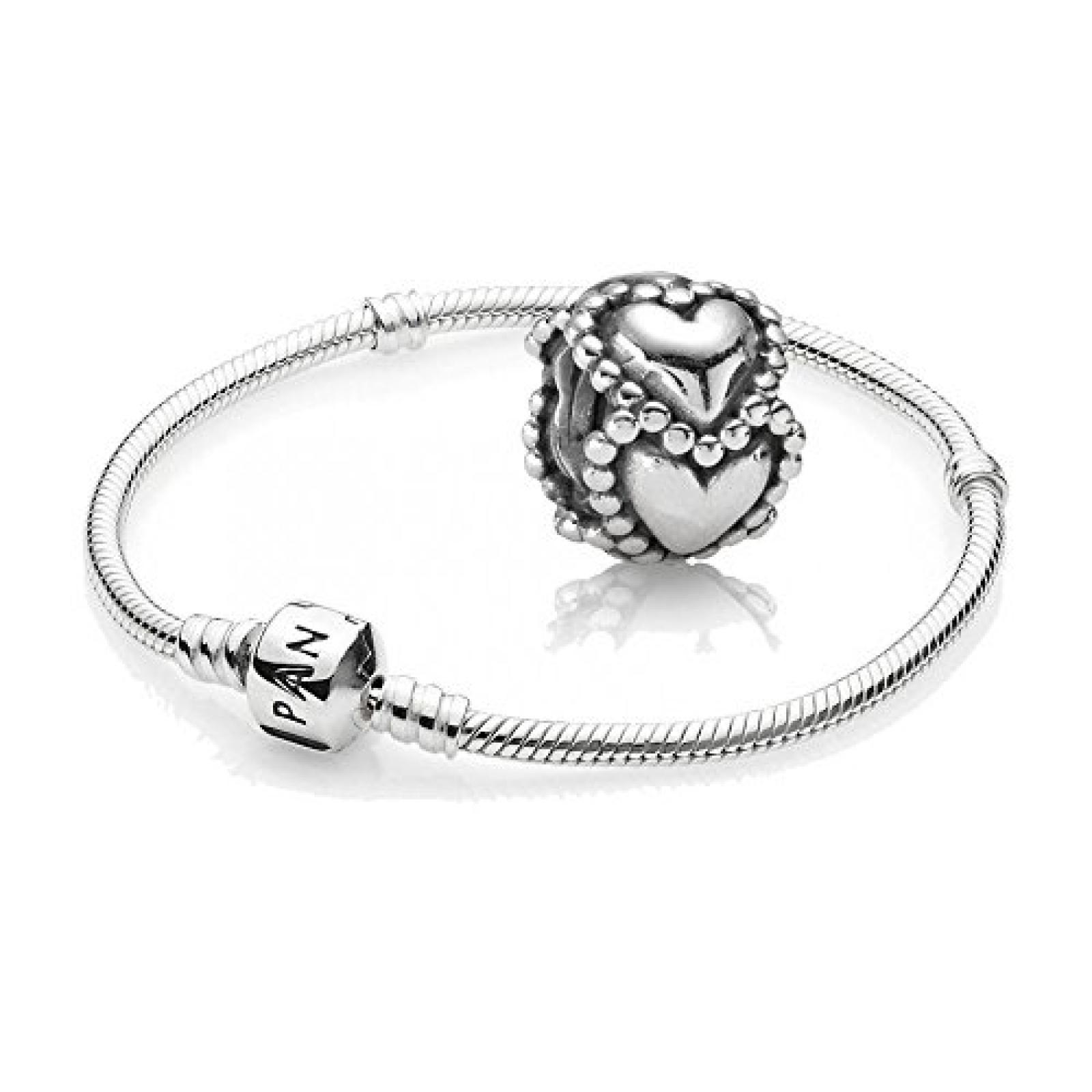 Original Pandora Geschenkset - 1 Silber Armband 590702HV und 1 Silber Element Gepunktete Herzen 790448