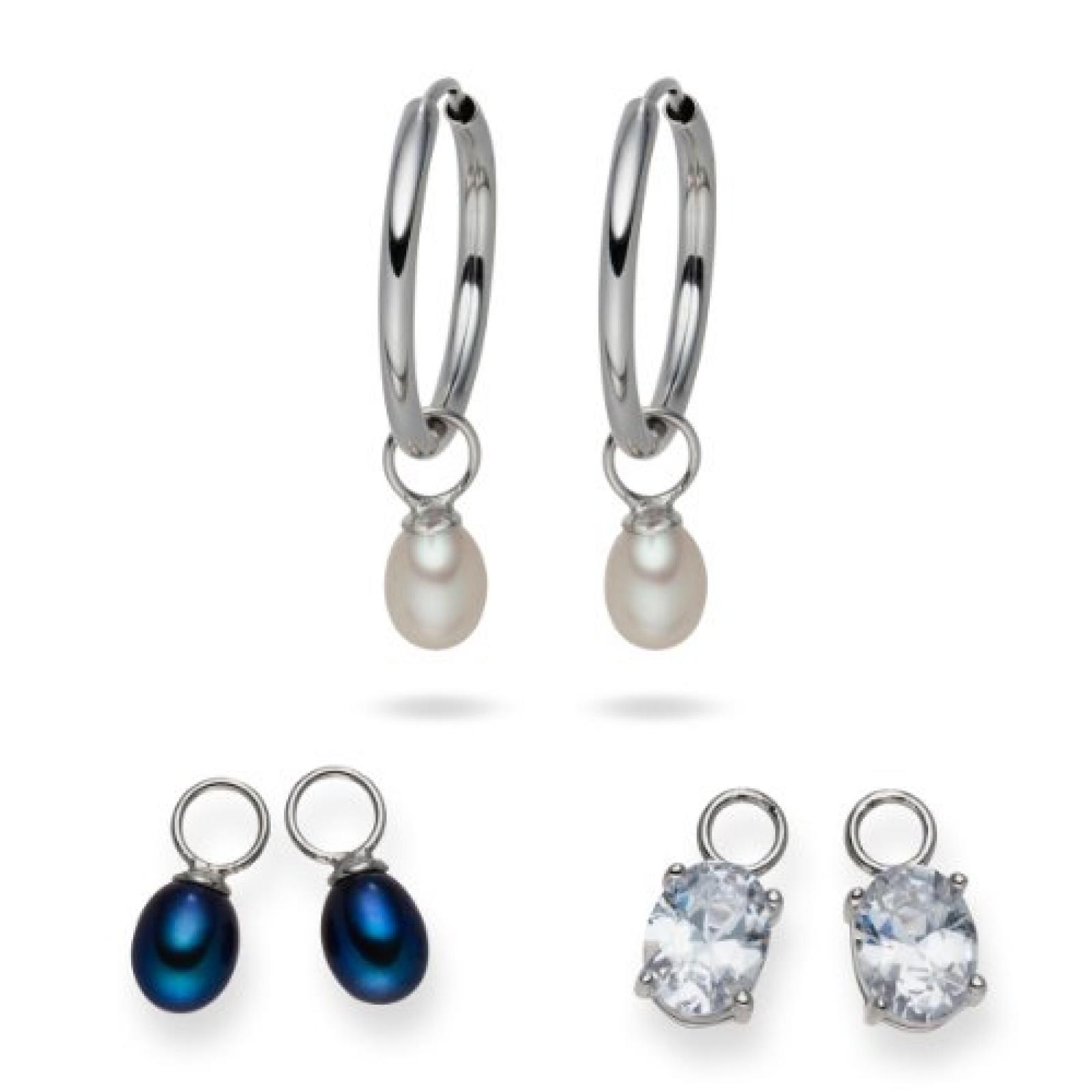 Valero Pearls Fashion Collection Damen-Creolen Hochwertige Süßwasser-Zuchtperlen in ca.  5-6 mm Tropfenform weiß / pfauenblau 925 Sterling Silber   Zirkonia weiß    60840001