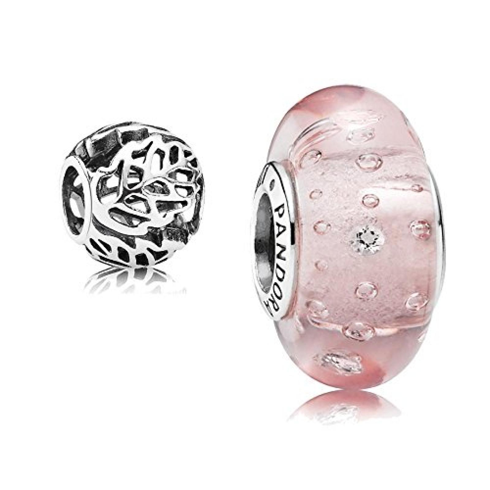 Original Pandora Geschenkset - 1 Silber Muranoglas Element Glitzer-Glas Rosa mit klarem Zirkonia 791615CZ und 1 Filigranes Silber Element Durchbrochene Blätter 791190