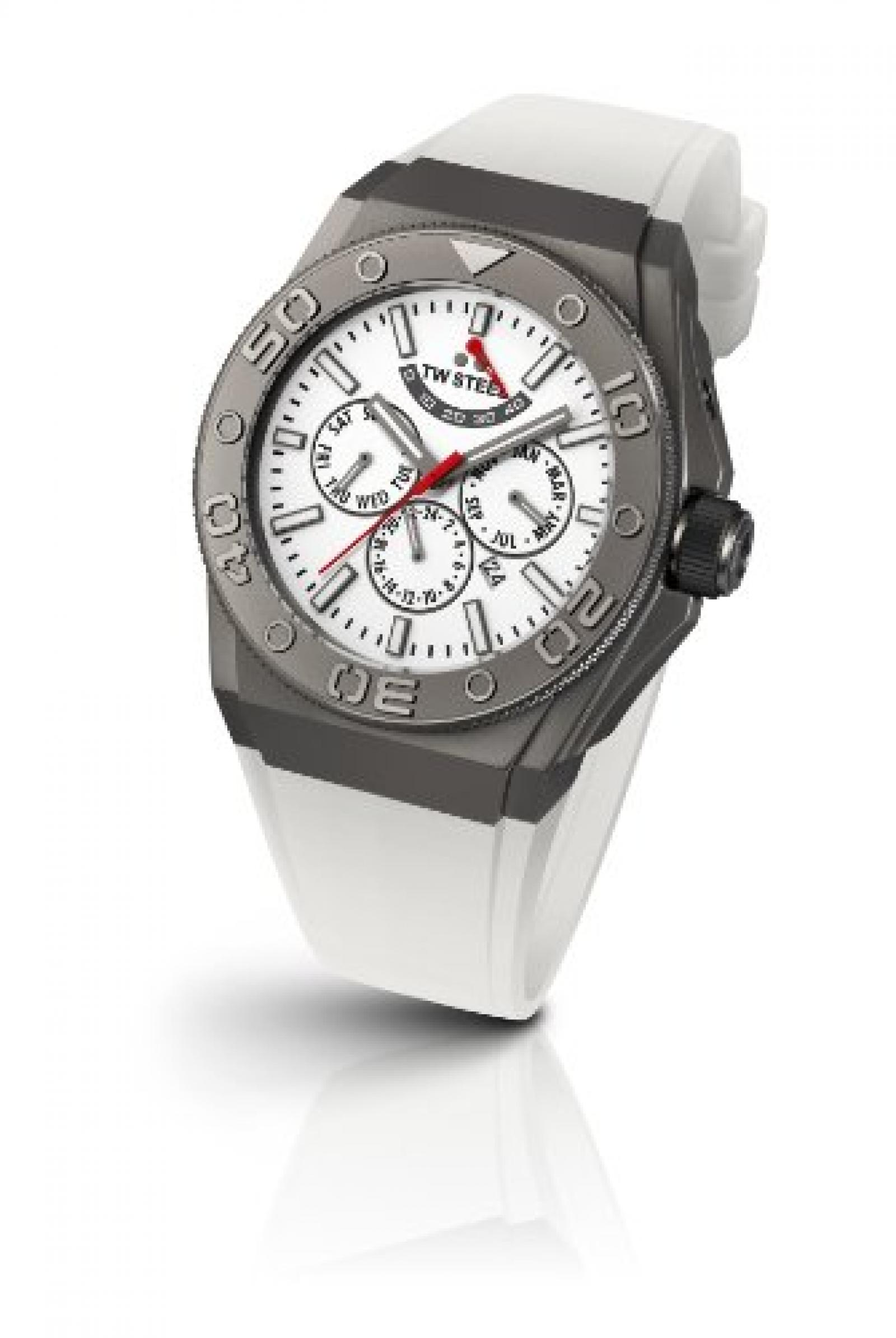 TW Steel Unisex-Armbanduhr CEO DIVER Chronograph automatik silikon weiss CE5003