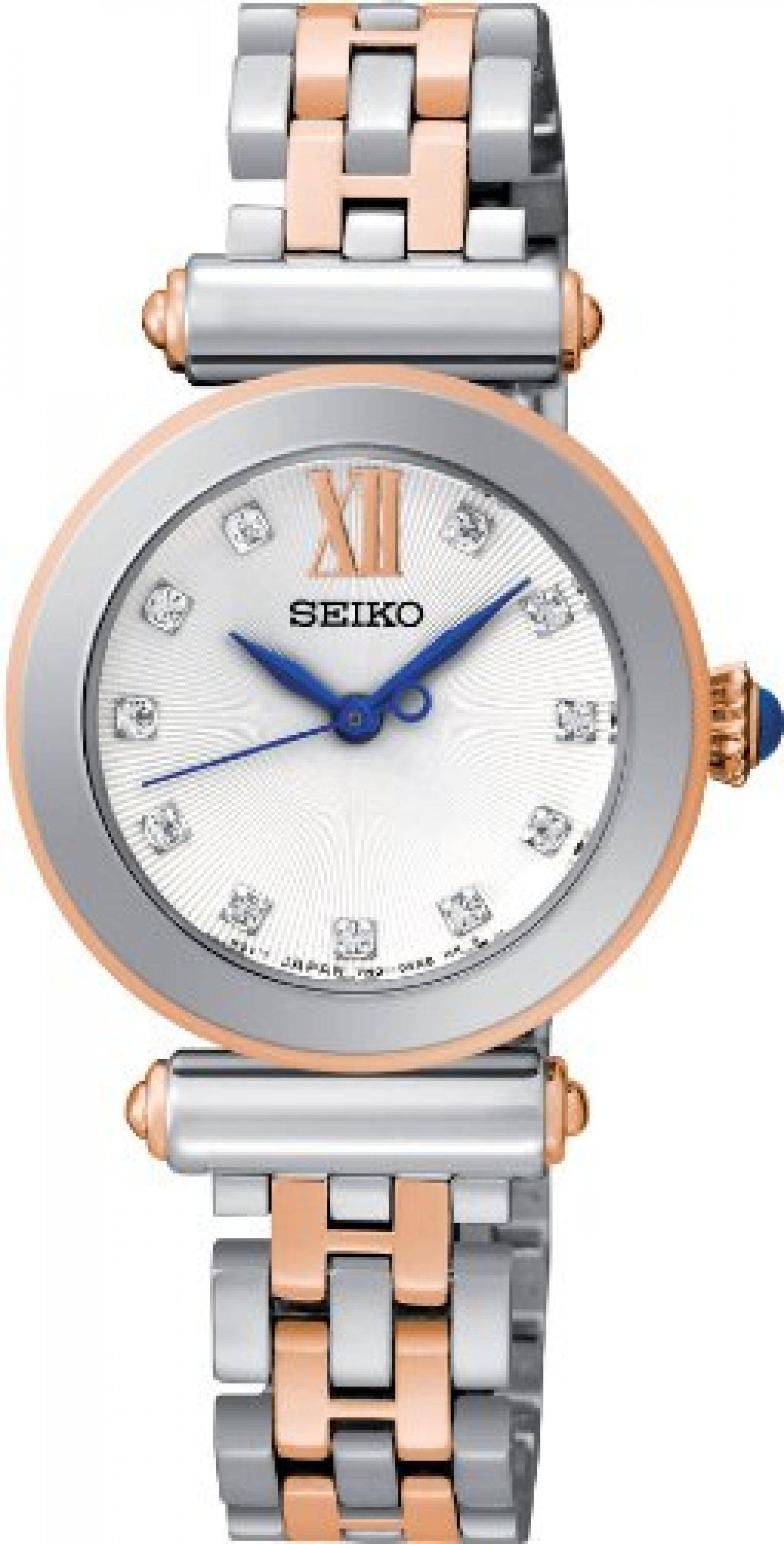 Seiko Damen-Armbanduhr XS Analog Quarz Edelstahl beschichtet SRZ400P1
