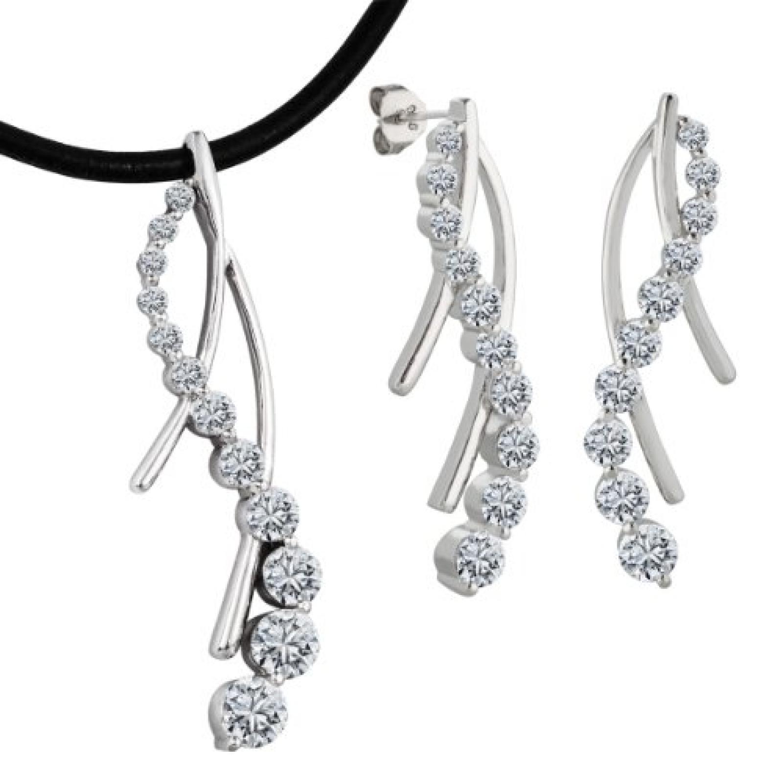 Bella Donna Damen-Set: Halskette und Ohrringe 925 Sterling Silber 32 Zirkonia weiss 43cm 109523