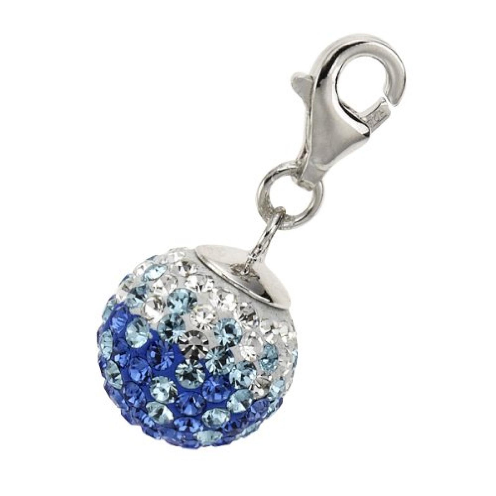 Zeeme Damen-Anhänger 925/- Sterling Silber Kugel Kristall Blau/Türkis/Weiß 280240061-1