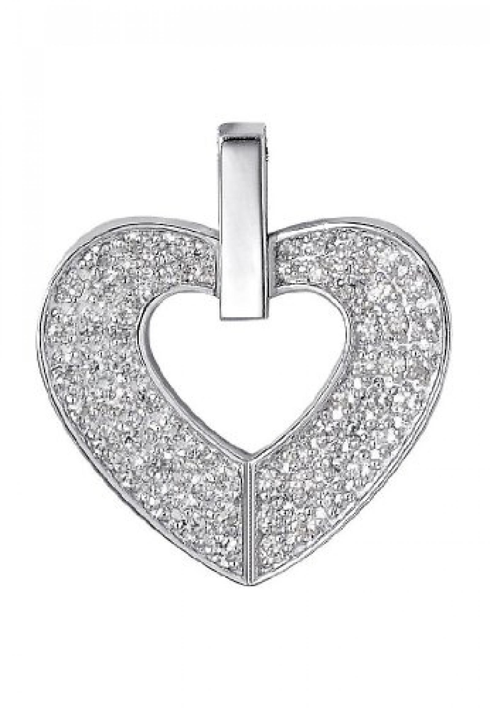 JETTE Charms Damen-Anhänger Jette Herzanhänger 925er Silber 64 Zirkonia One Size, silber