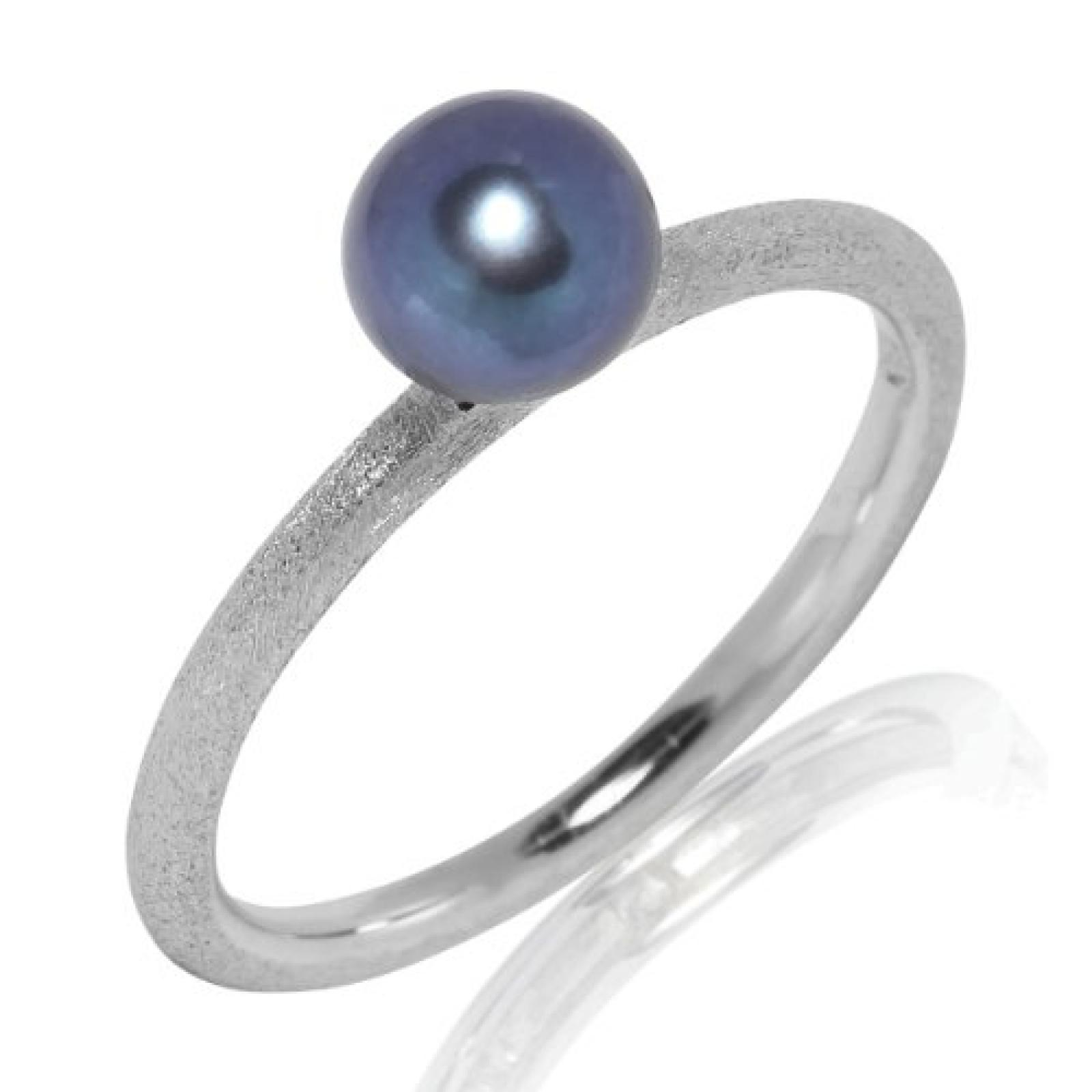 Valero Pearls Silver Collection Damen-Ring Hochwertige Süßwasser-Zuchtperlen in ca.  6 mm Button blau 925 Sterling Silber     Ringgröße 50 60201740
