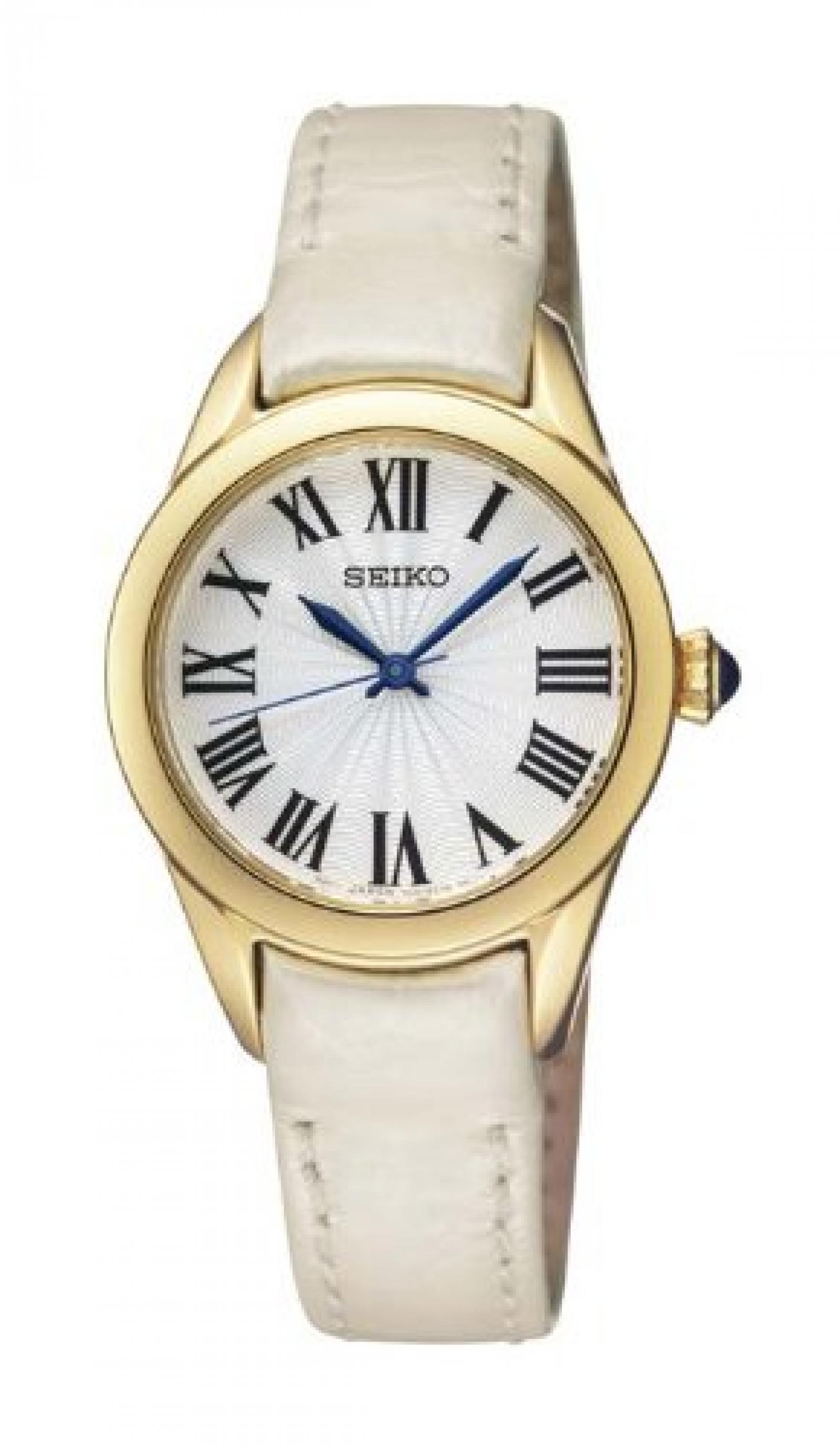 Seiko Damen-Armbanduhr XS Analog Quarz Leder SRZ384P2