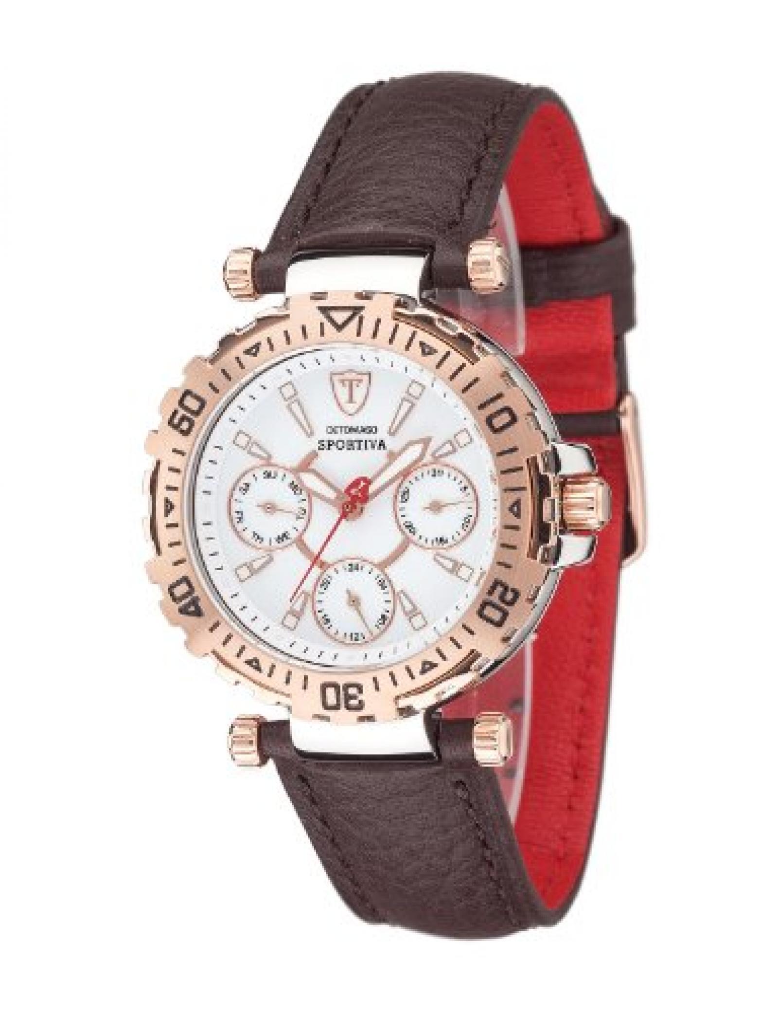 Detomaso Damen-Armbanduhr XS SPORTIVA Multifunction Rosegold/Brown Analog Quarz Leder DT3016-G