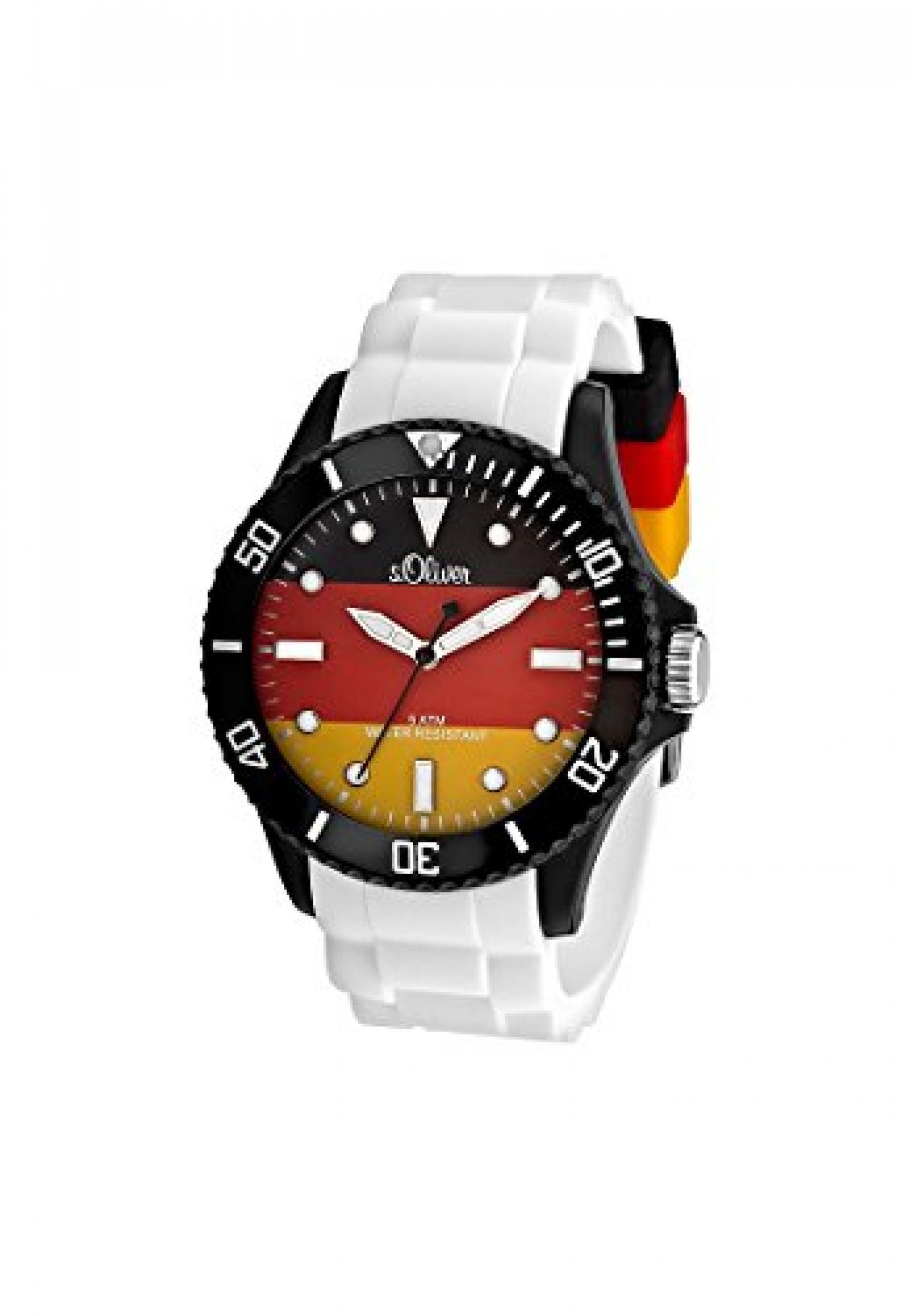 S.Oliver Herren-Armbanduhr Analog Quarz (One Size, schwarz/rot/gold)