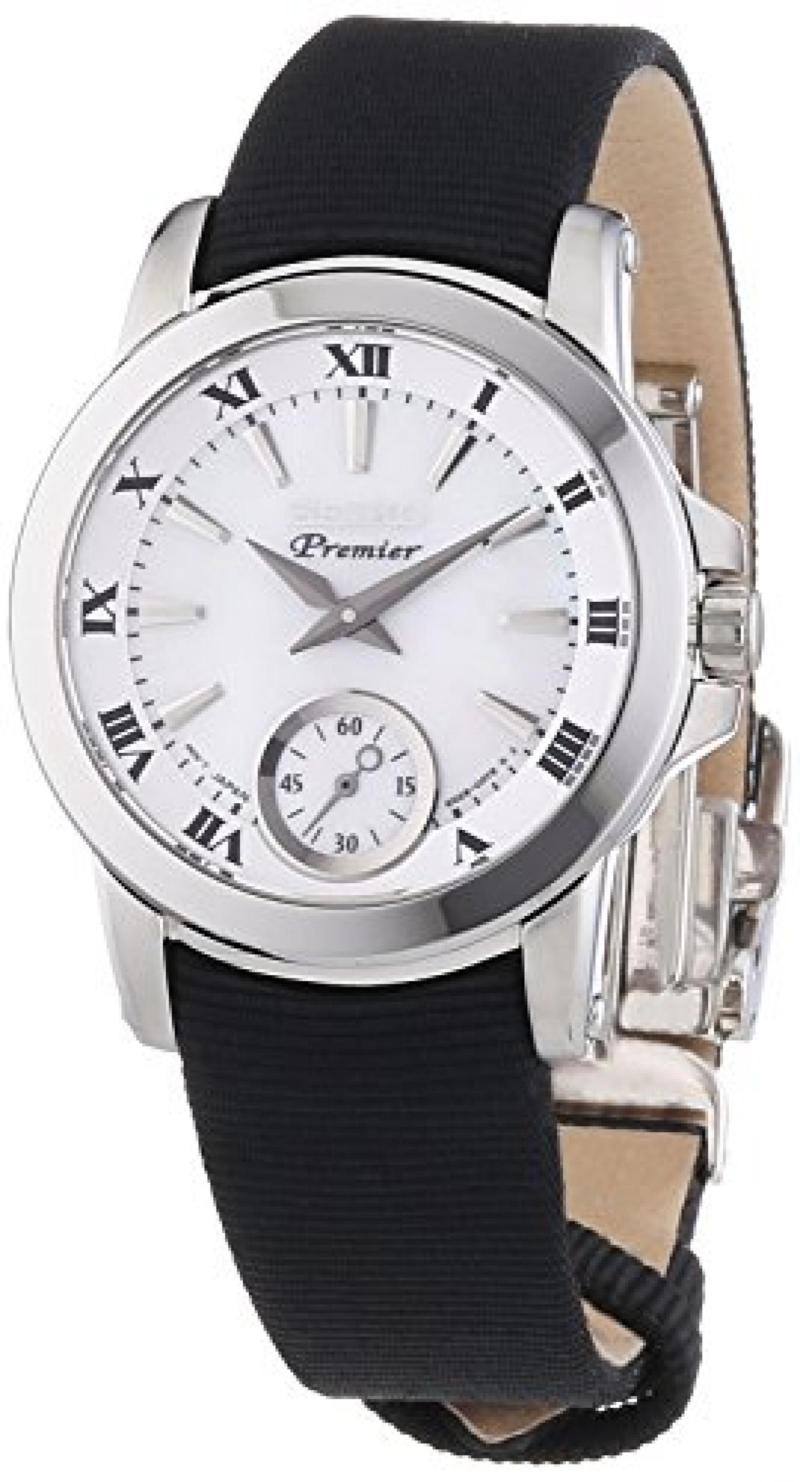 Seiko Damen-Armbanduhr XS Premier Analog Quarz Textil SRKZ63P1