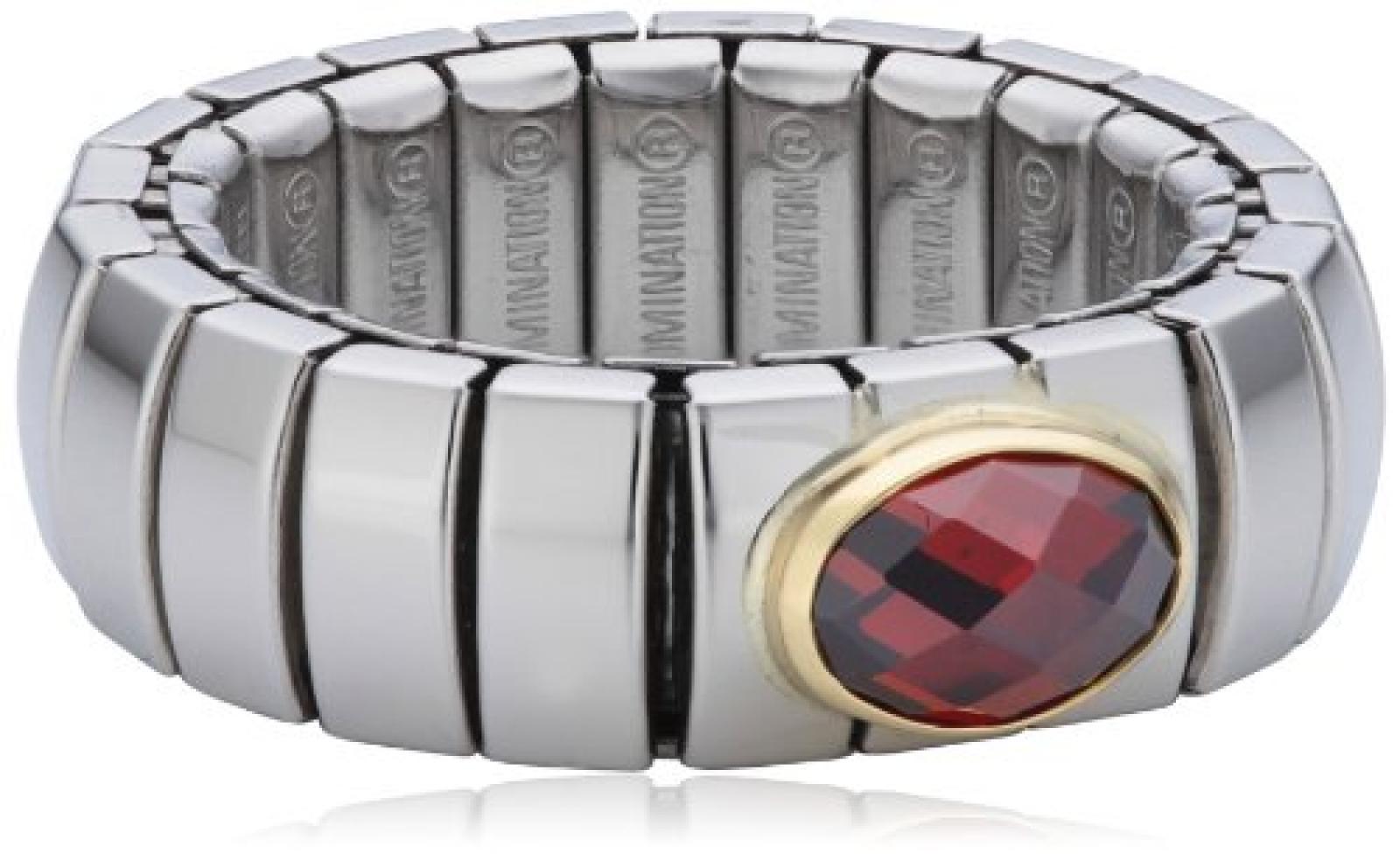 Nomination Damen-Ring Klein 18-K-Gold Mit Facettiertem Zirkon Rot Ring größe variabel 041510/005