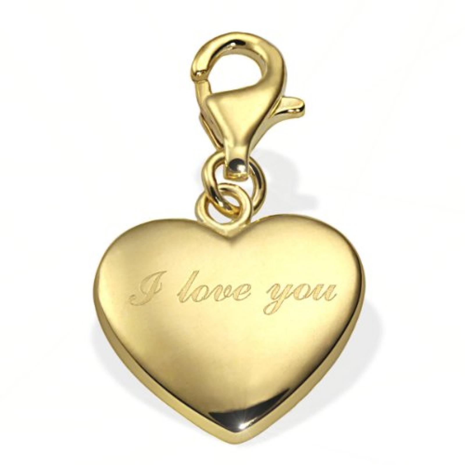 Goldmaid Damen-Charm Herz 333 Gelbgold I Love you Gh A4431GG