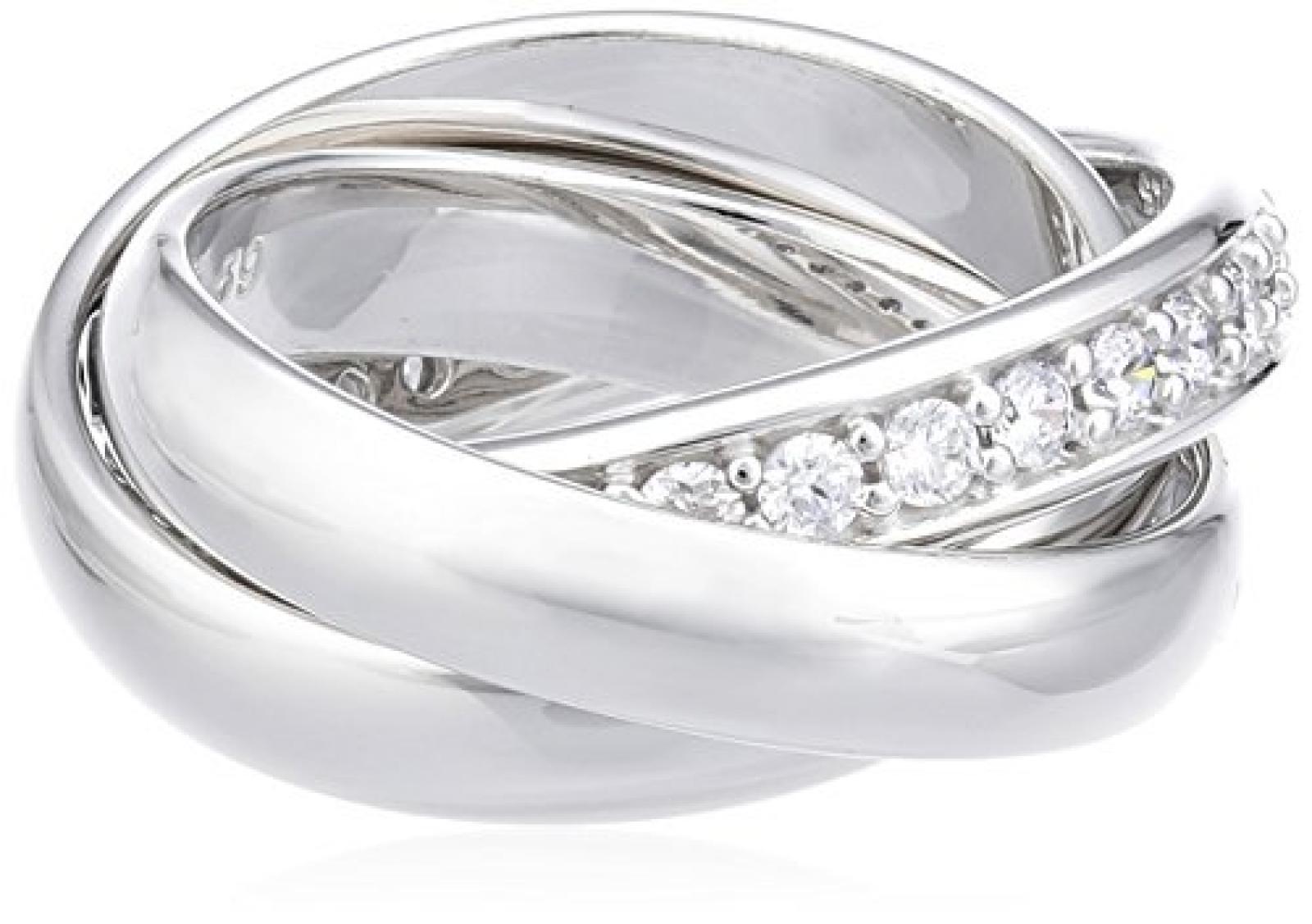 Joop! Damen-Ring Dreifacher mit Zirkonia weiÃY Gr.53 JPRG90003A530