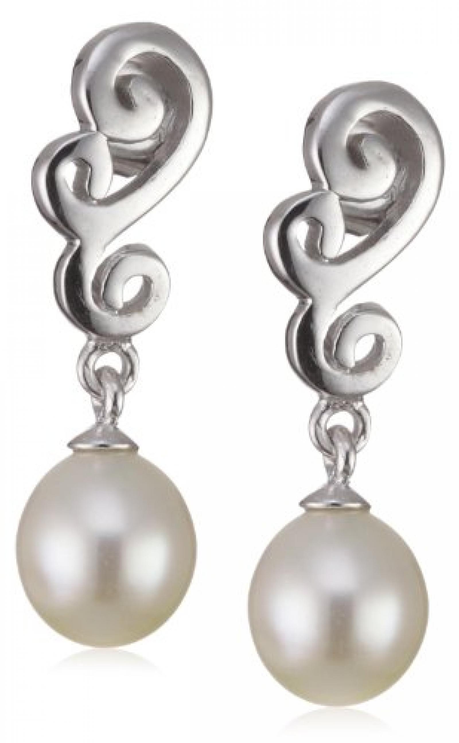 Valero Pearls Silver Collection Damen-Ohrstecker Hochwertige Süßwasser-Zuchtperlen in ca.  8 mm Tropfenform weiß 925 Sterling Silber       60200023