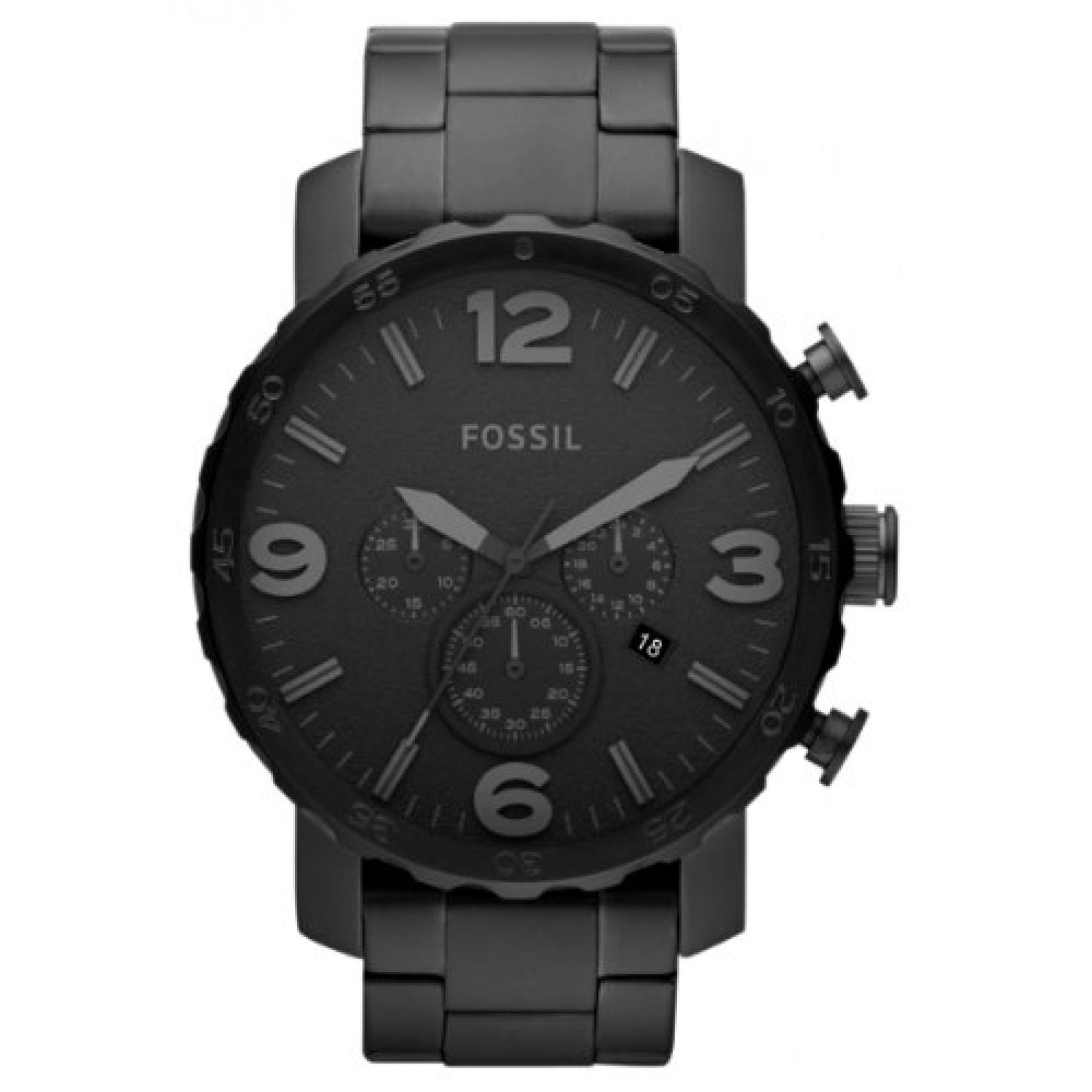Fossil Herren-Armbanduhr XL Nate Quarz-Chronograph Edelstahl IPB beschichtet JR1401