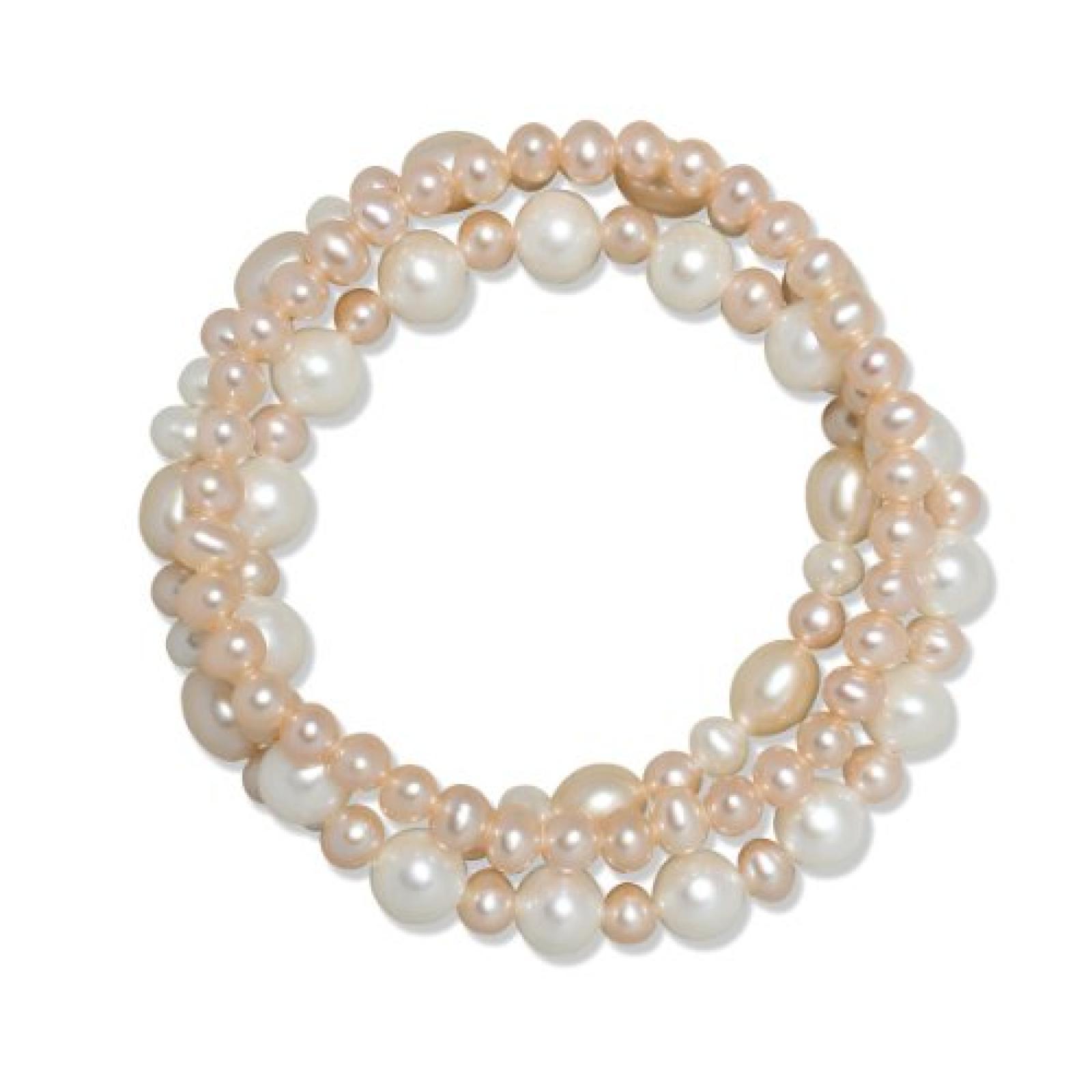 Valero Pearls Classic Collection Damen-Armband elastisch Hochwertige Süßwasser-Zuchtperlen in ca.  5-8 mm Oval weiß / apricot     19 cm   60020048