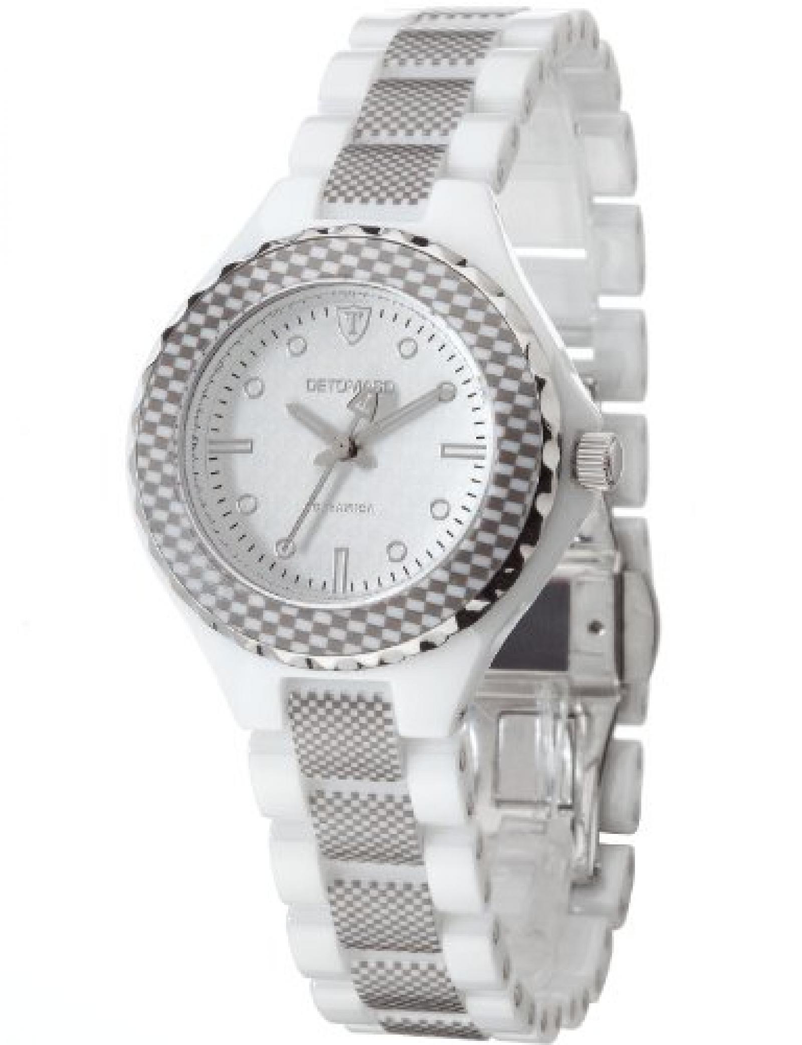Detomaso Damen-Armbanduhr XS FEDERICA White Ladies Analog Quarz Keramik DT3010-B