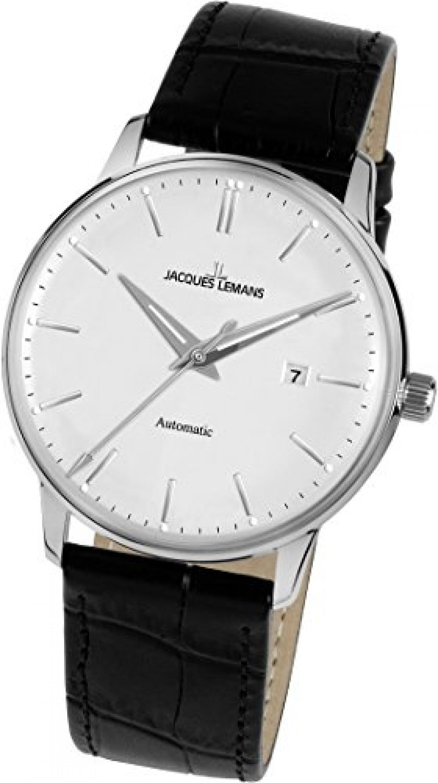 Jacques Lemans Unisex-Armbanduhr Nostalgie Analog Automatik Leder N-212A