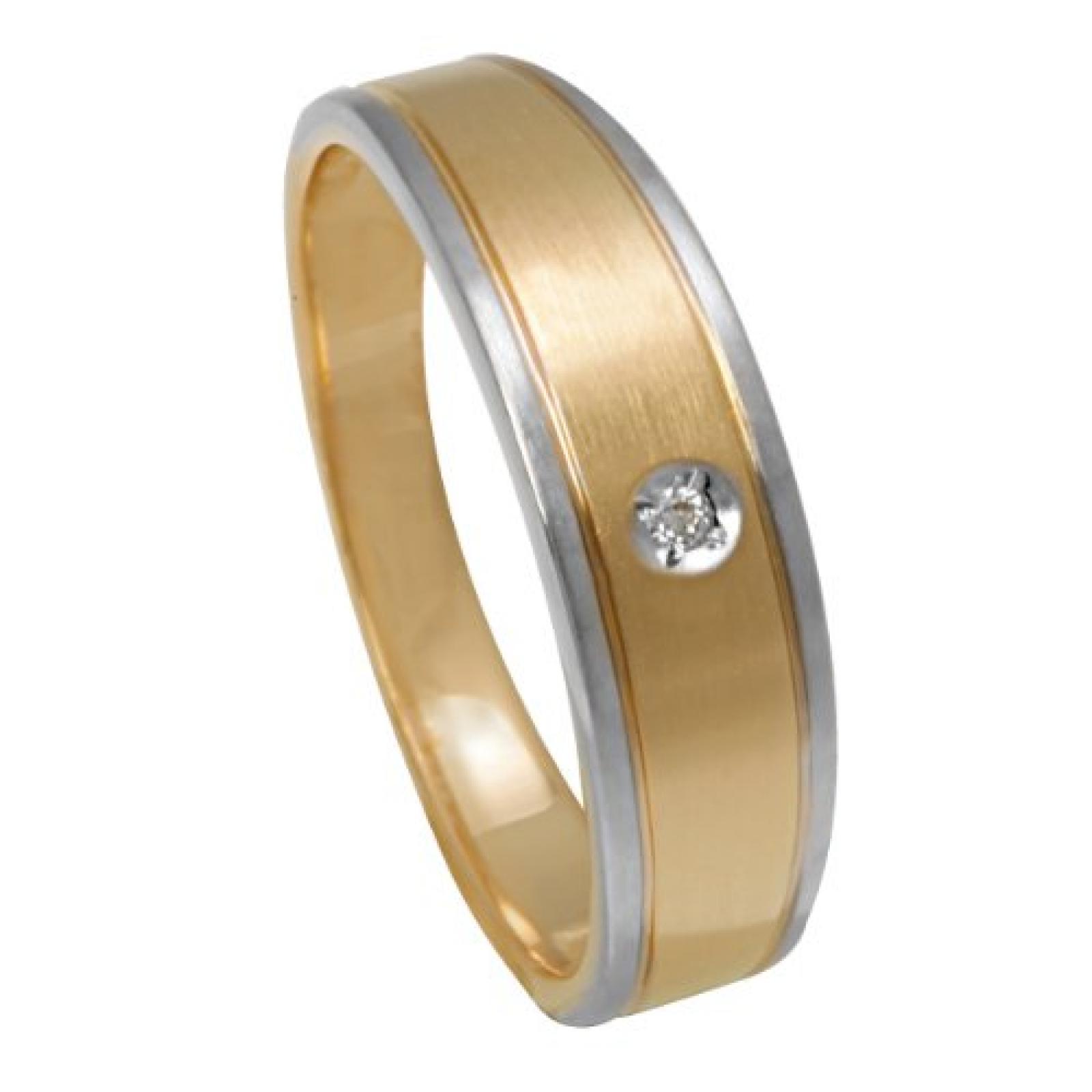 Bella Donna Damen-Ring 375 Gelbgold teilrhodiniert 1 Diamant