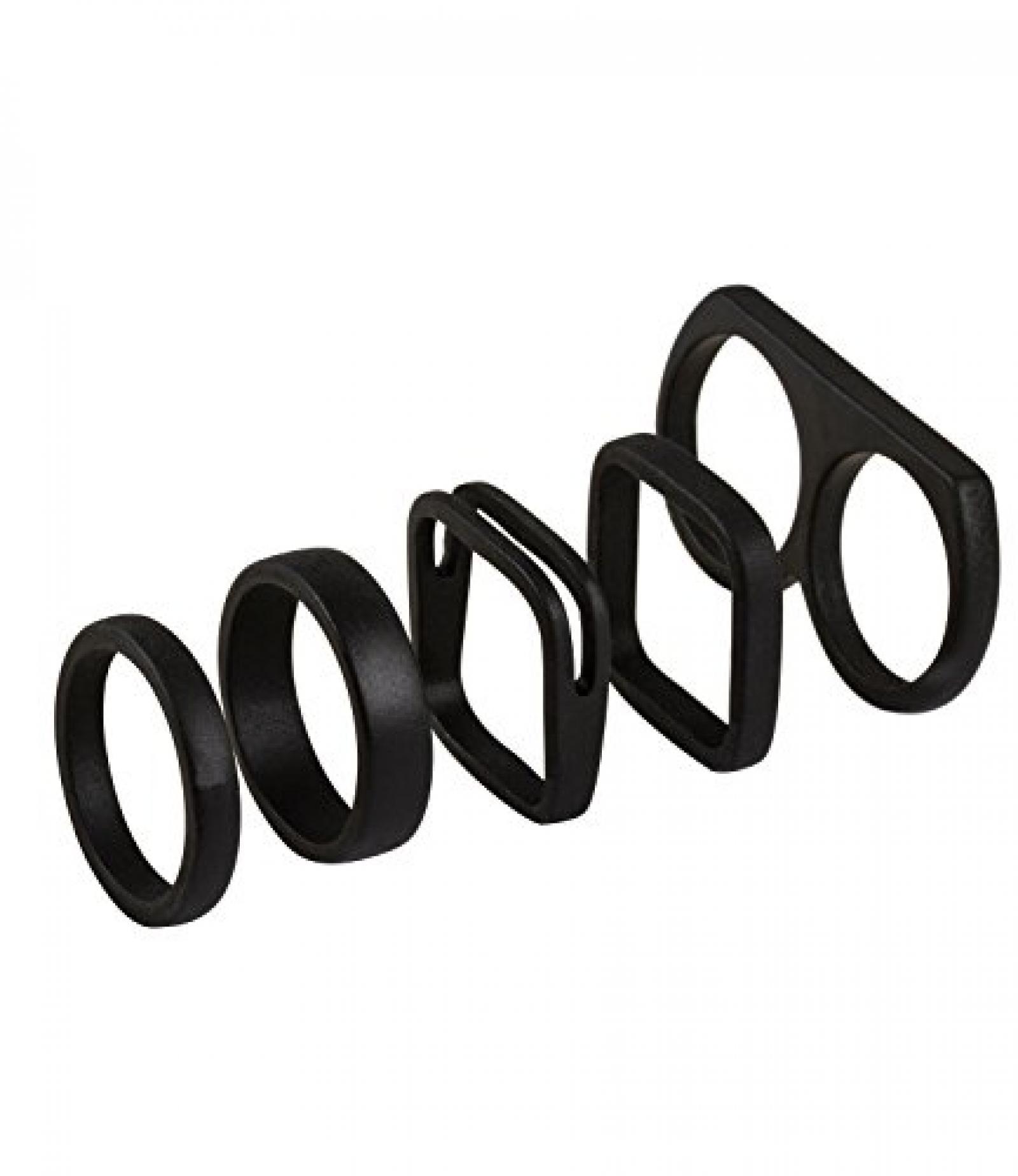 """SIX """"Statement"""" 5er Set matte, schwarze Ringe, teilweise eckig (392-210)"""